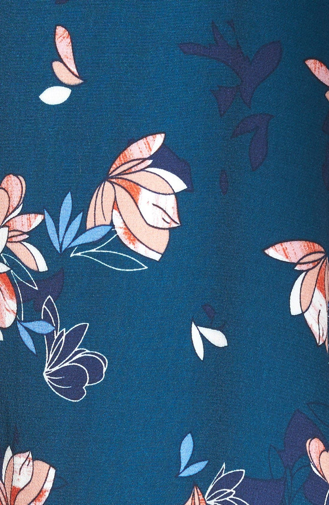 ASTR Wrap Front High/Low Dress,                             Alternate thumbnail 5, color,                             Teal Multi Floral