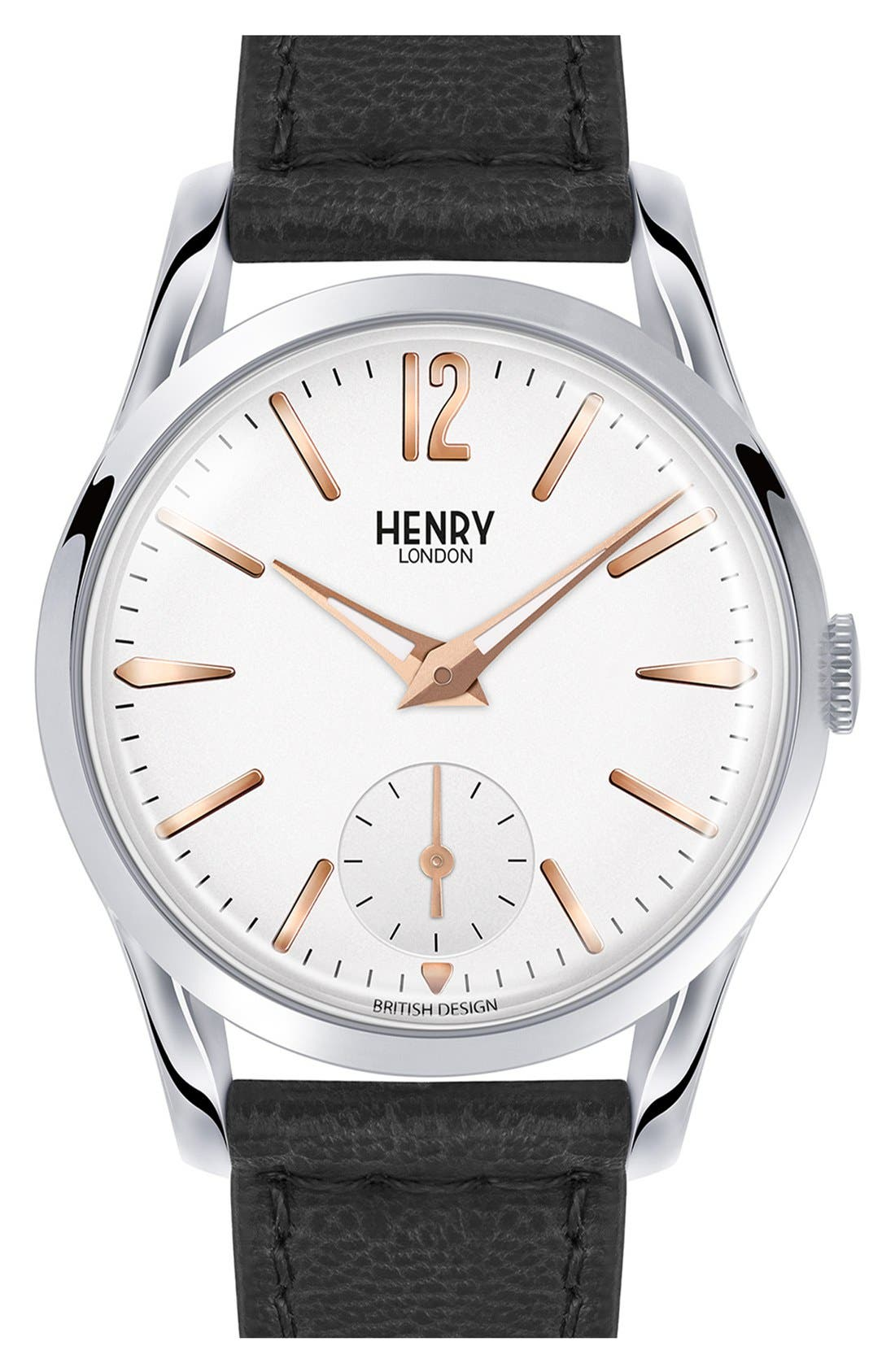 Main Image - Henry London 'Highgate' Leather Strap Watch, 30mm