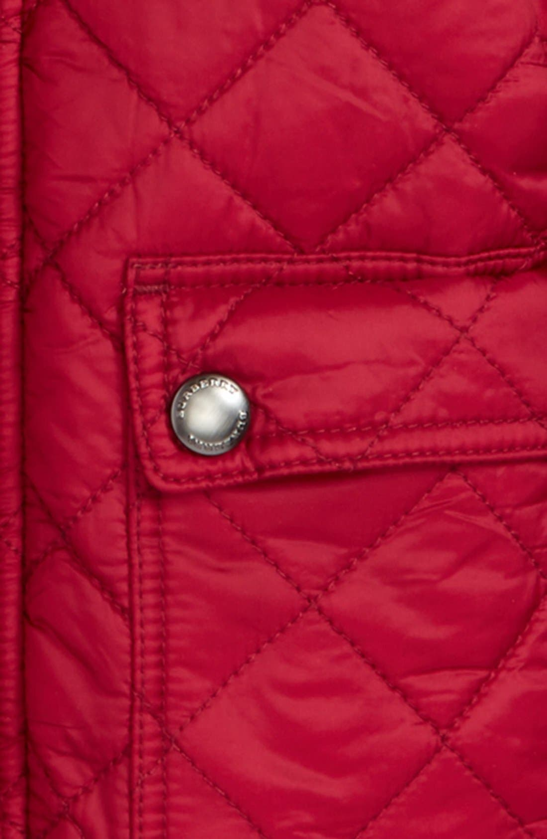 Alternate Image 2  - Burberry 'Jamie' Quilted Hooded Puffer Jacket (Baby Girls)