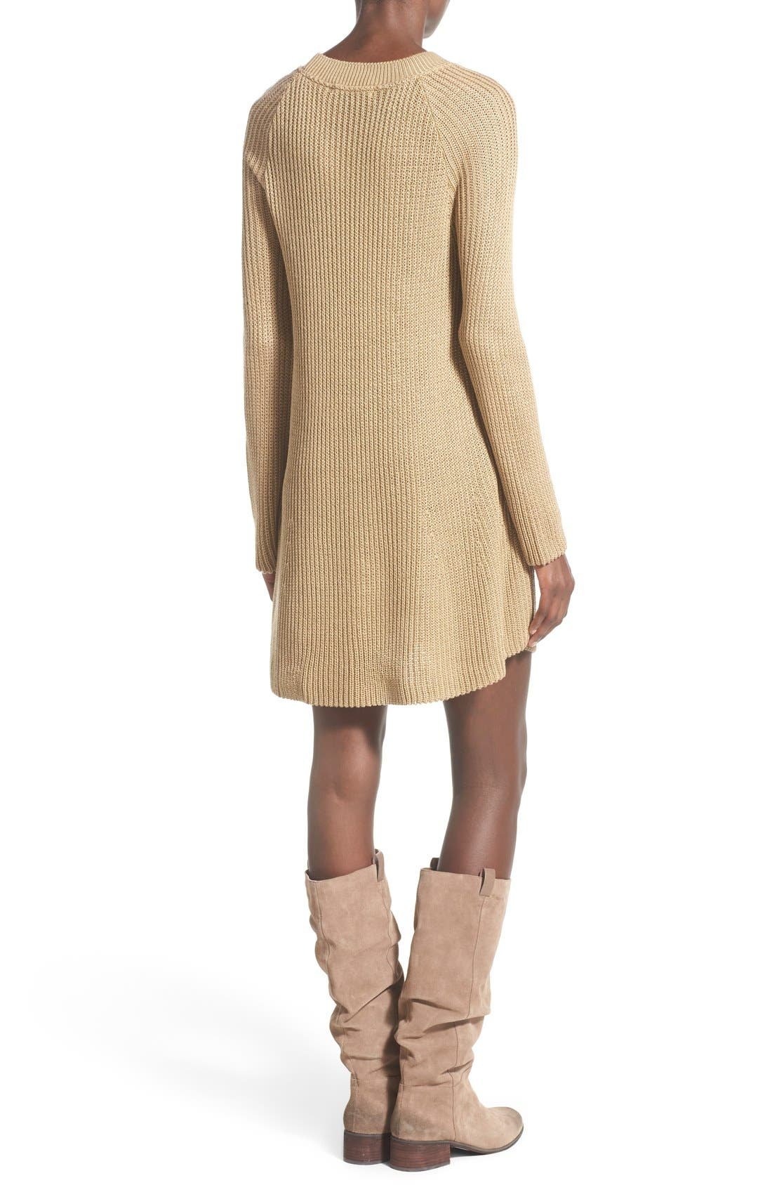 Alternate Image 2  - Cotton Emporium Crewneck Sweater Dress