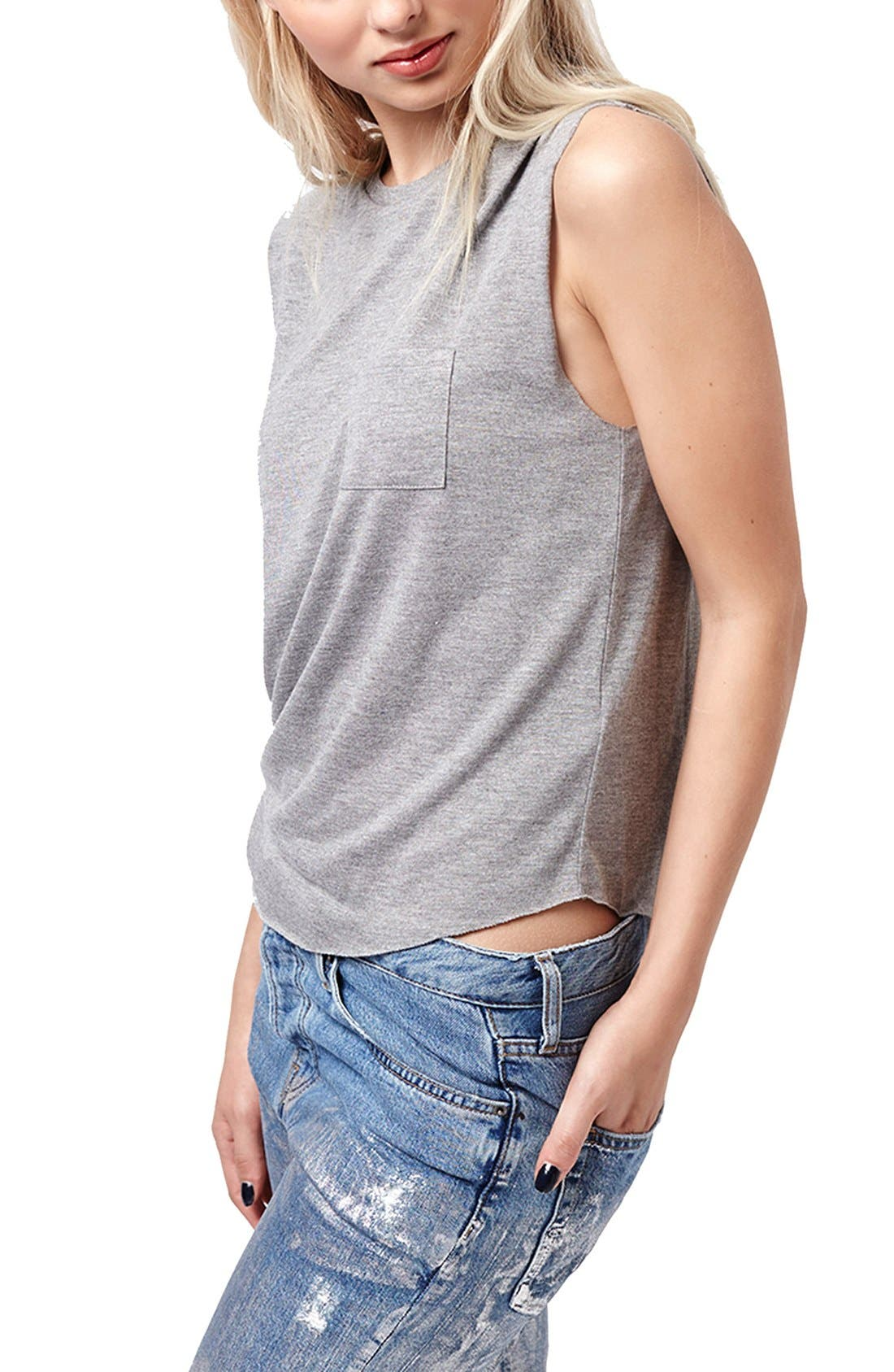 Alternate Image 1 Selected - Topshop Relaxed Fit Pocket Tank