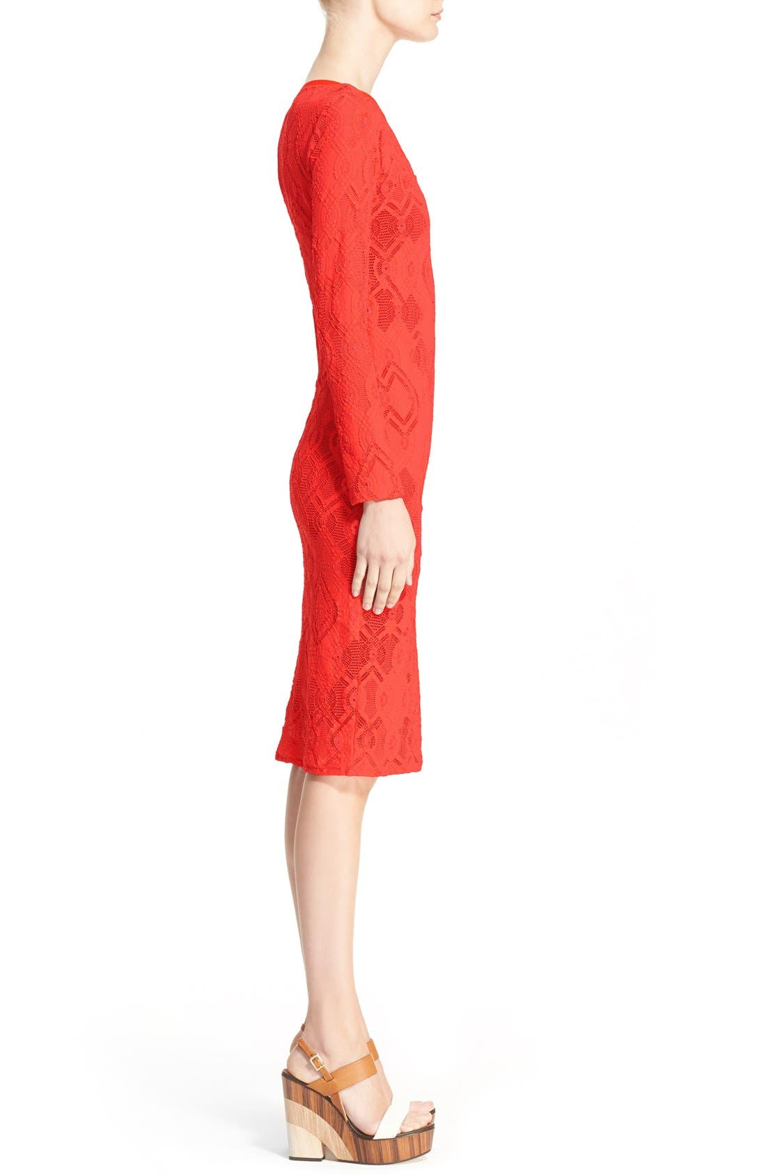 Long Sleeve Geo Lace Sheath Dress,                             Alternate thumbnail 5, color,                             Red
