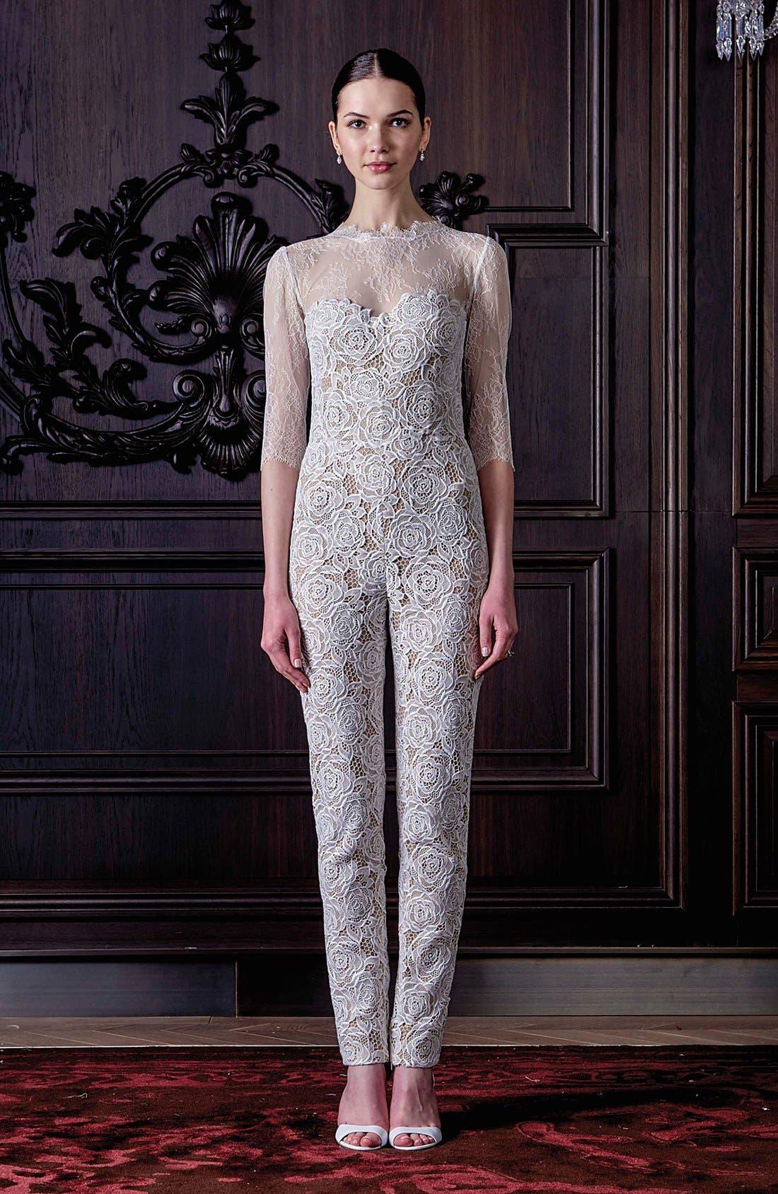 Monique Lhuillier Ready to Wed Guipure Lace Jumpsuit,                             Alternate thumbnail 6, color,                             Silk White/ Nude