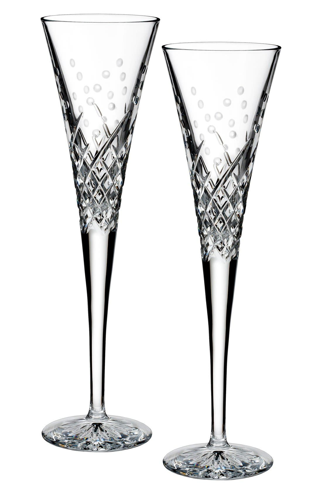 'Happy Celebrations' Lead Crystal Champagne Flutes,                             Main thumbnail 1, color,                             Clear