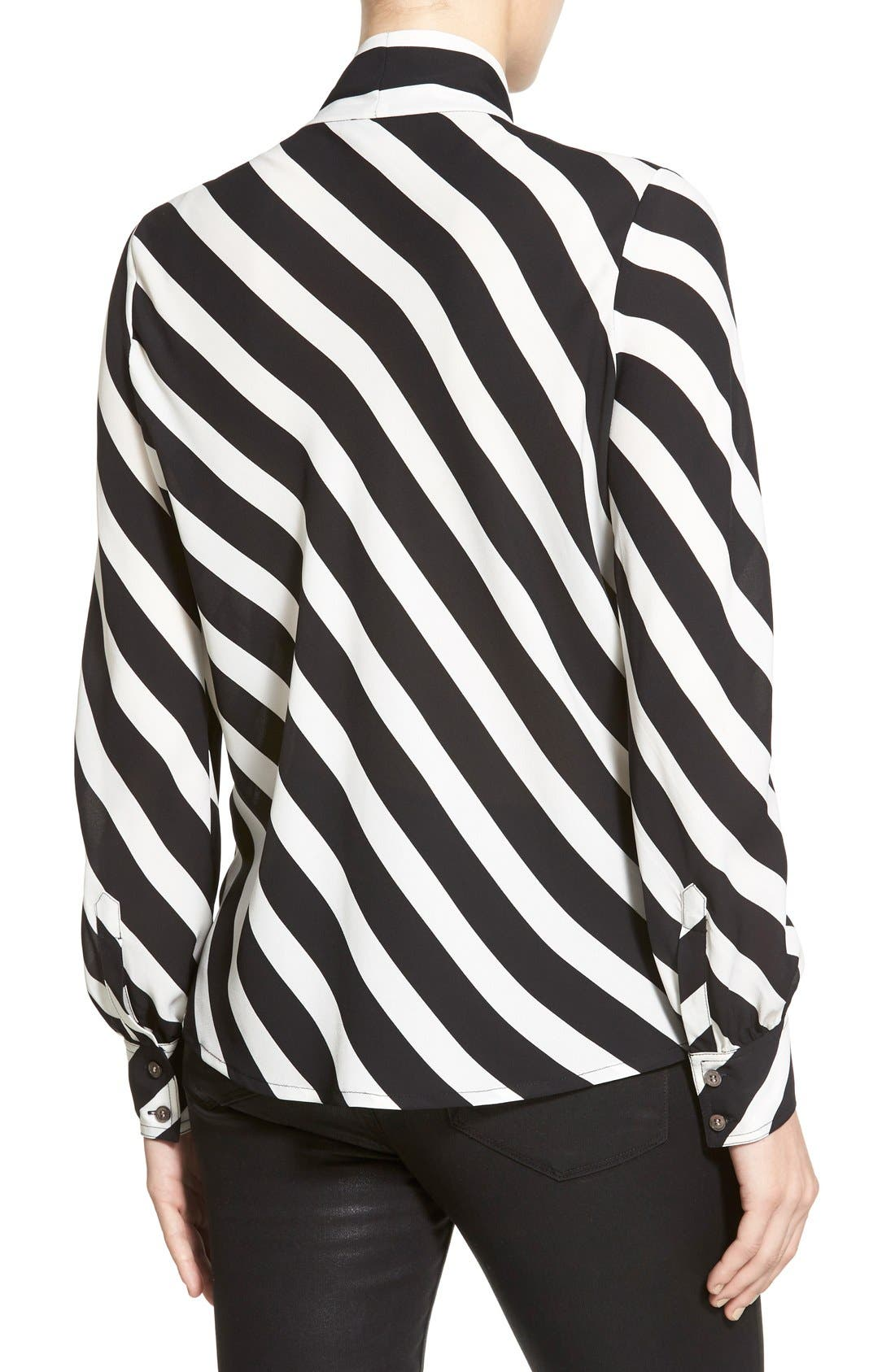 Alternate Image 2  - Vince Camuto 'Runway Stripe' Tie Neck Blouse