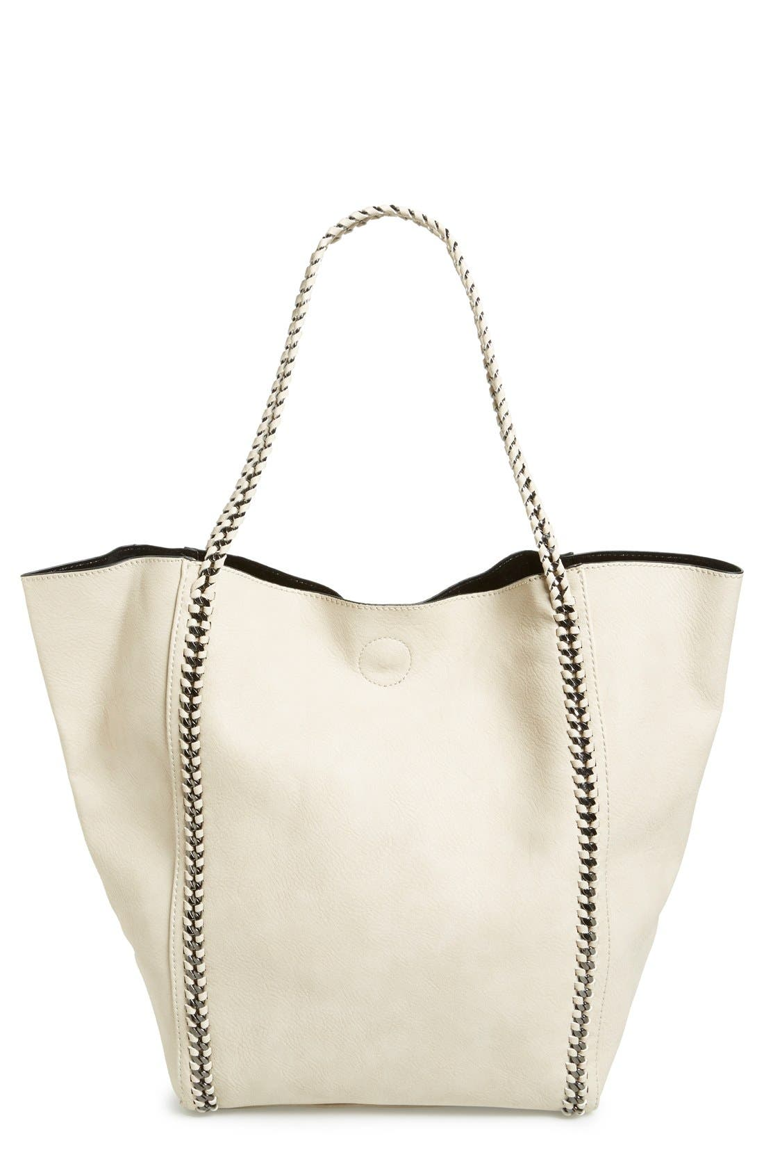 Chain Faux Leather Tote,                             Main thumbnail 1, color,                             Tan Greige