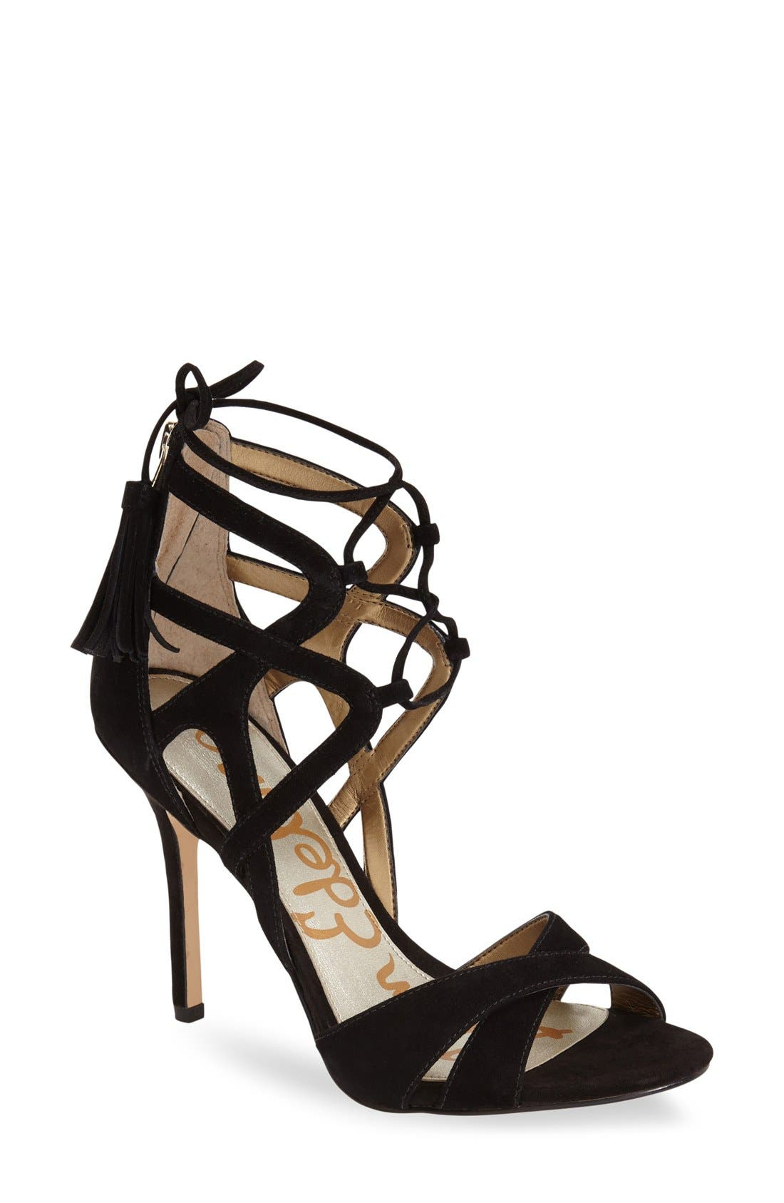 'Azela' Tasseled Lace-Up Sandal,                             Main thumbnail 1, color,                             Black Suede