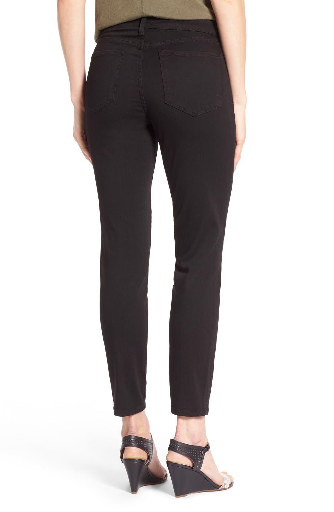 'Clarissa' Stretch Ankle Skinny Jeans,                             Alternate thumbnail 2, color,                             Black Garment Wash