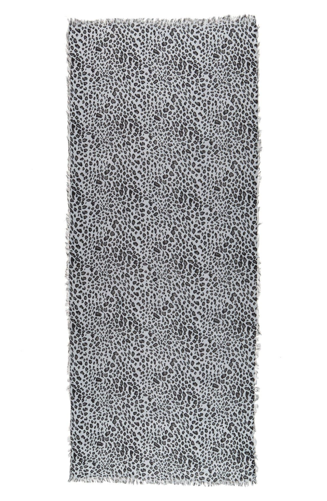 Leopard Print Scarf,                             Alternate thumbnail 2, color,                             Grey