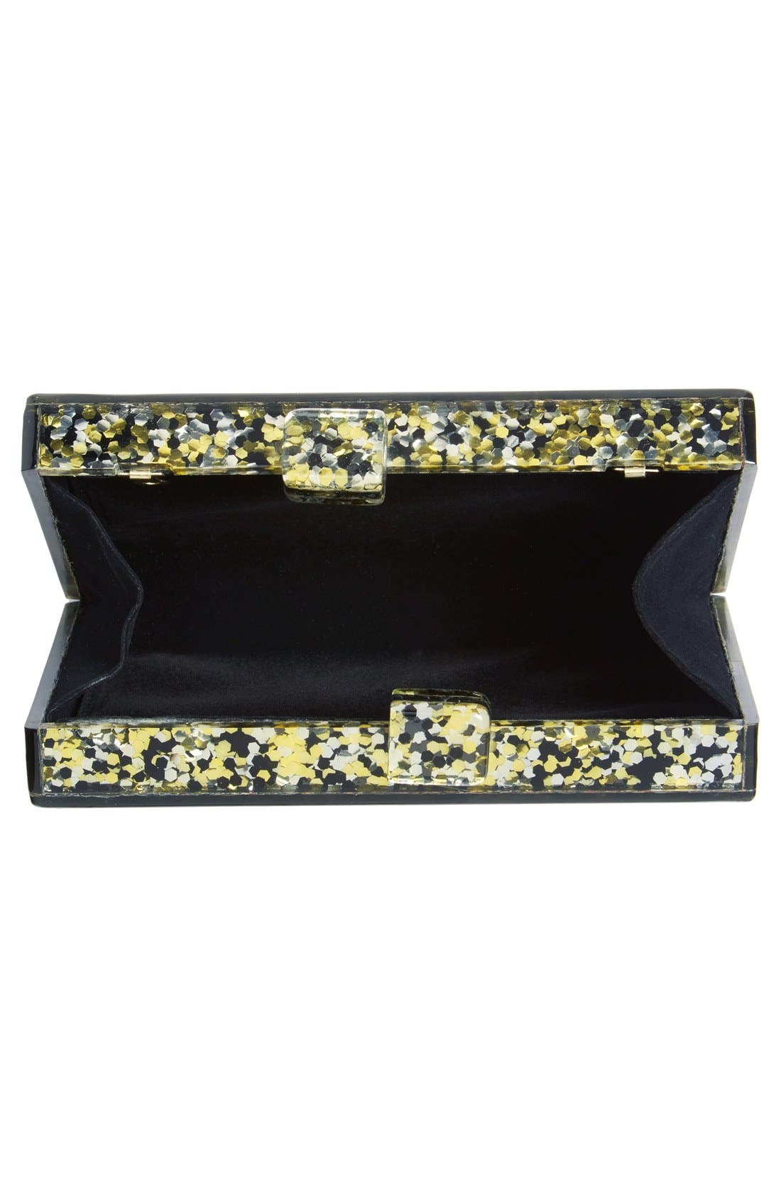 Couture Box Clutch,                             Alternate thumbnail 4, color,                             Black/ Gold