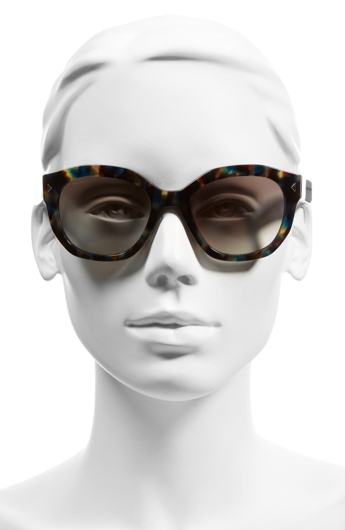 Contrast Temple 53mm Sunglasses,                             Alternate thumbnail 2, color,                             Tortoise Blue