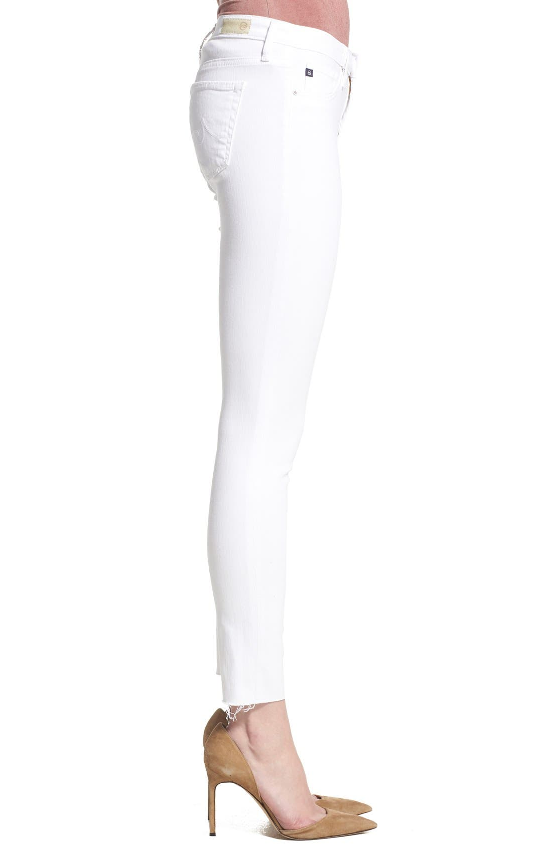 'The Legging' Cutoff Ankle Skinny Jeans,                             Alternate thumbnail 4, color,                             White