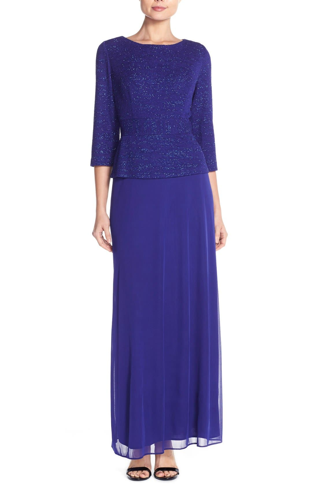 Jacquard & Chiffon Mock Two-Piece Gown,                             Main thumbnail 1, color,                             Royal