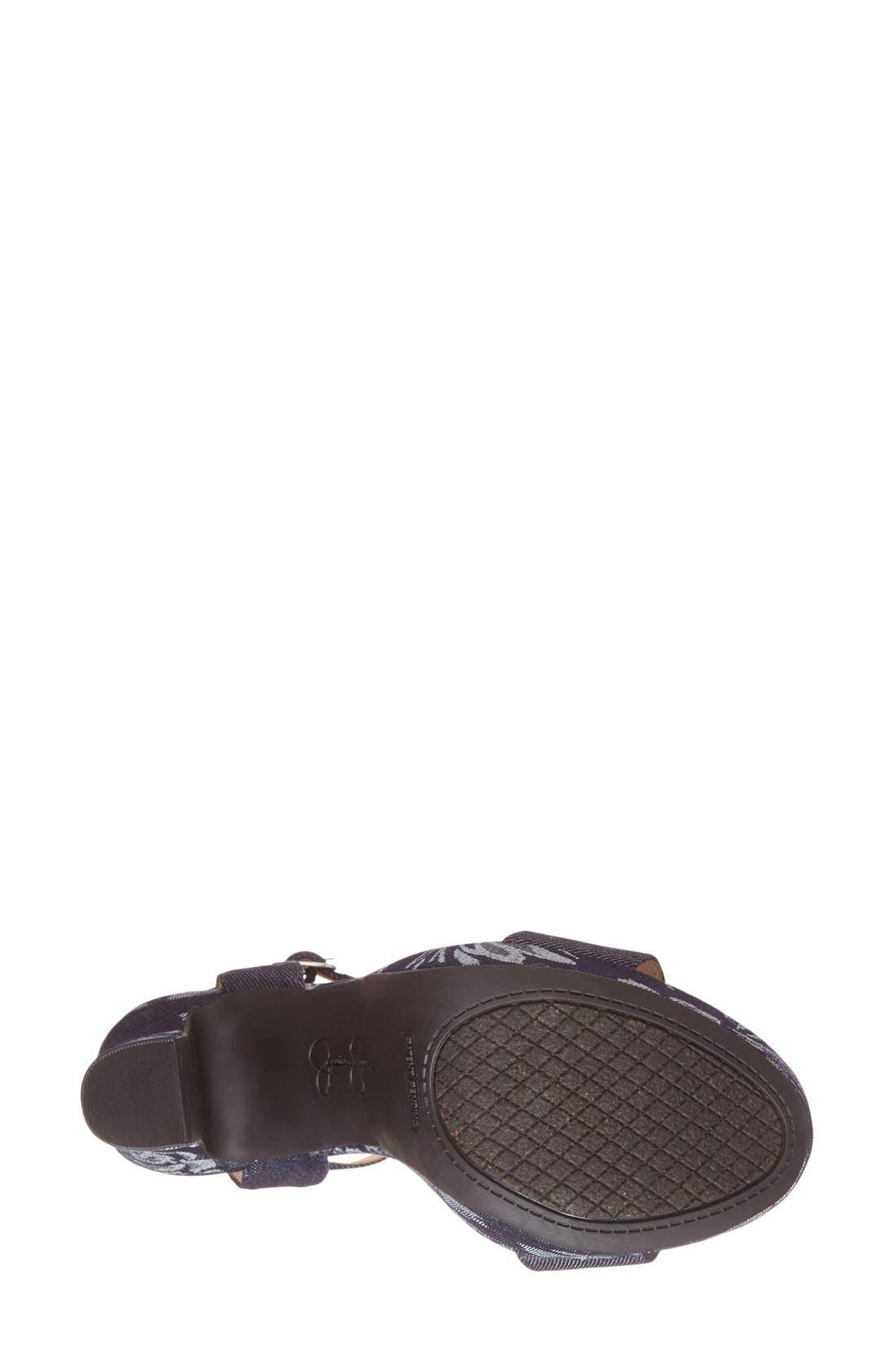 'Blaney' Platform Sandal,                             Alternate thumbnail 4, color,                             Indigo/ Indigo Fabric