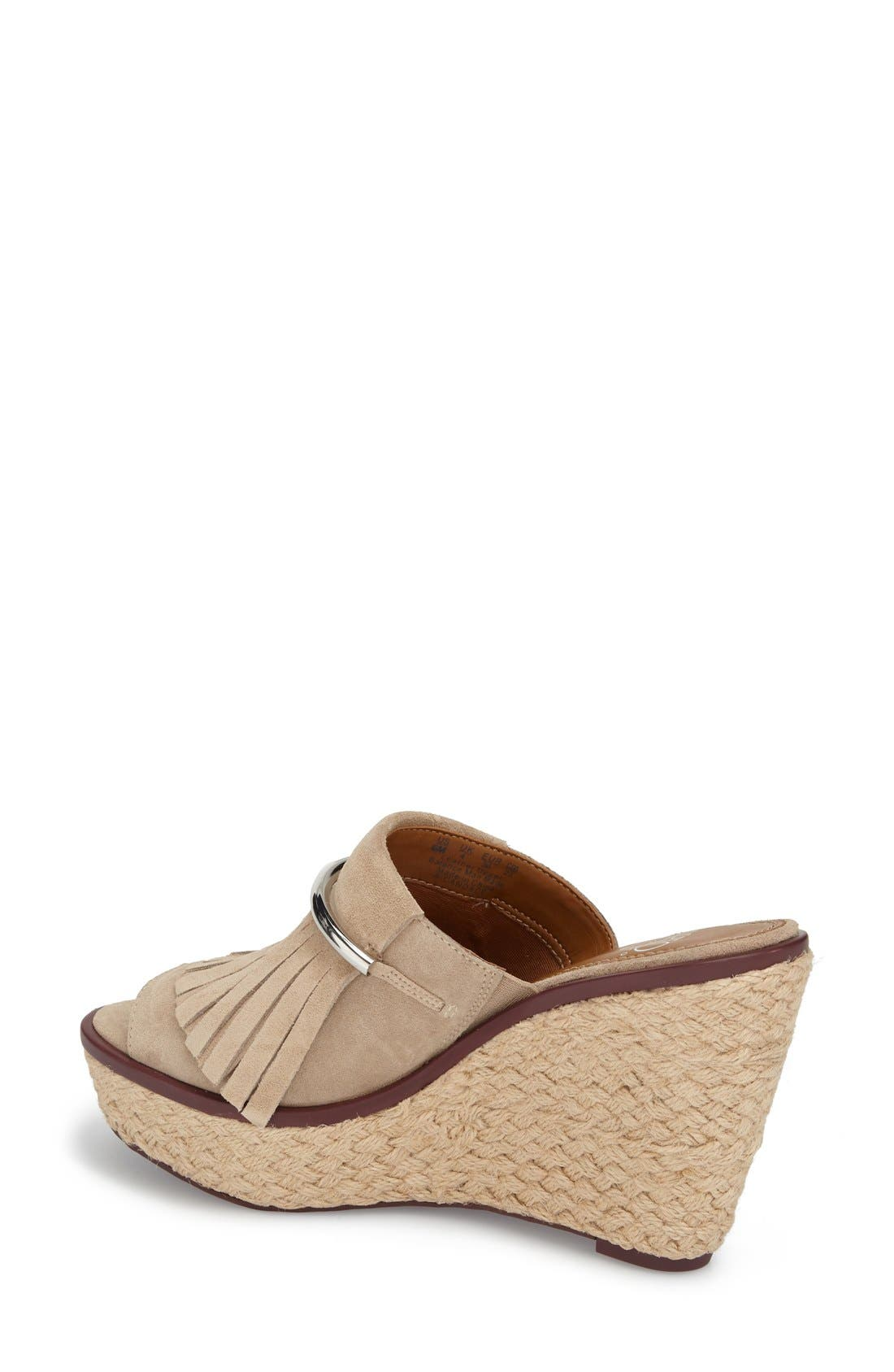 'Candace' Wedge Mule,                             Alternate thumbnail 2, color,                             Soft Tan Kid Suede