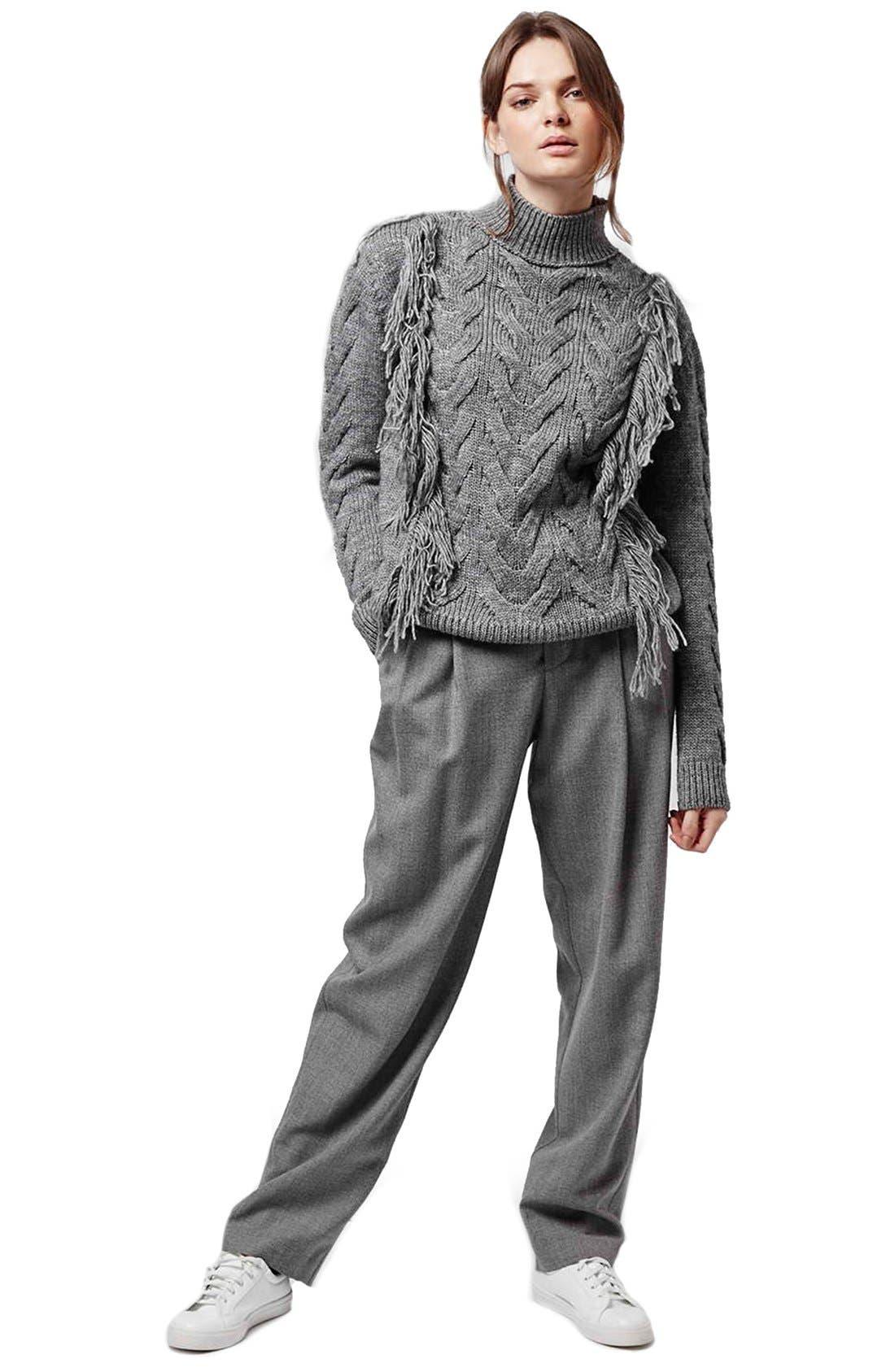 Alternate Image 2  - Topshop Fringe Cable Knit Sweater