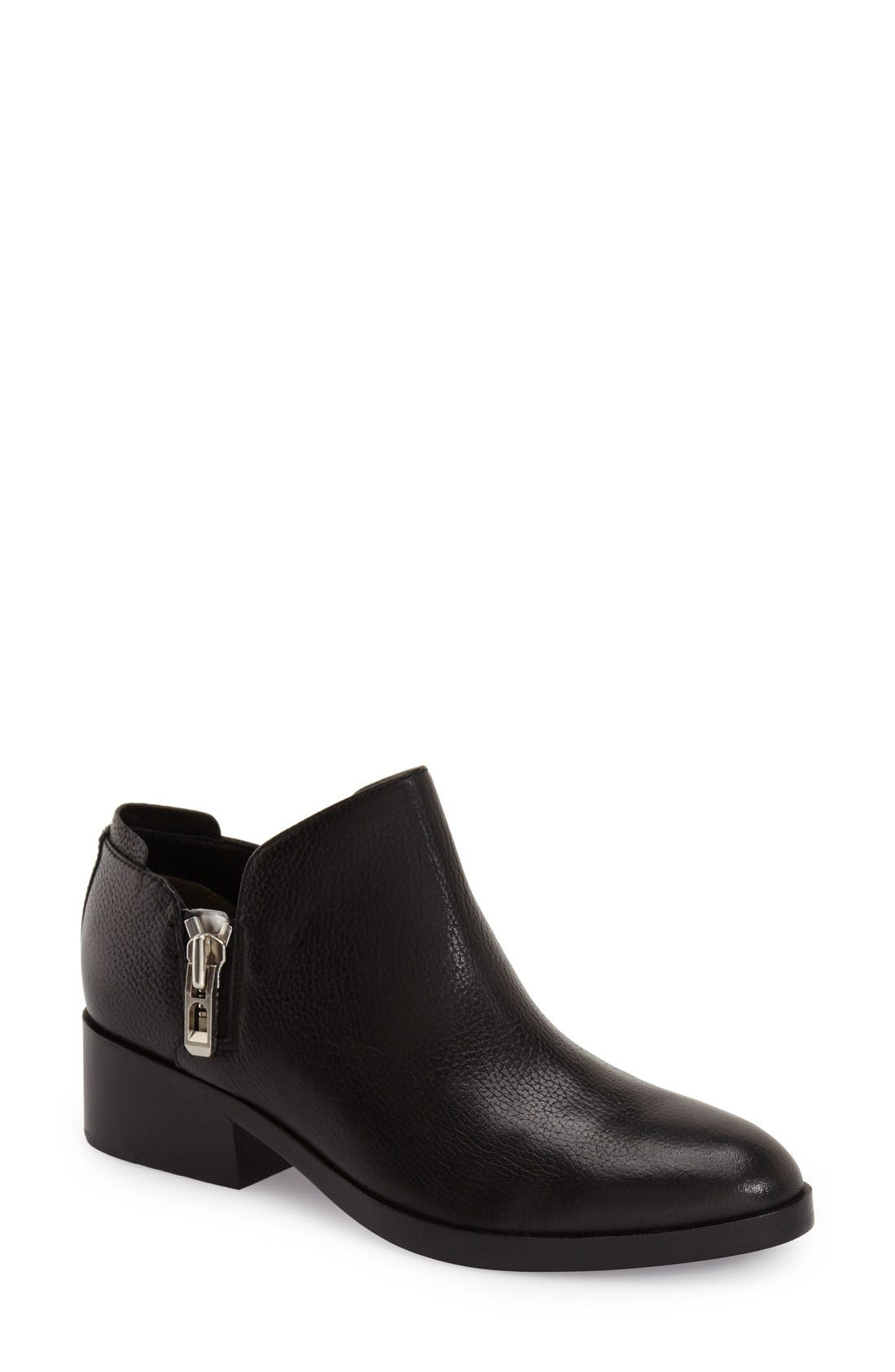 Alexa Zip Bootie,                         Main,                         color, Black Leather