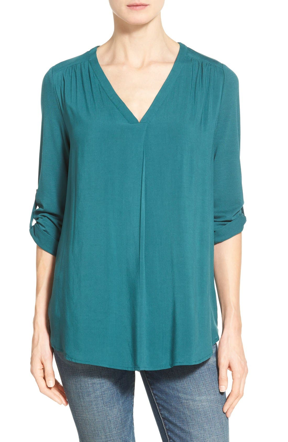 Main Image - Pleione Mixed Media V-Neck Tunic (Regular & Petite) (Nordstrom Exclusive)