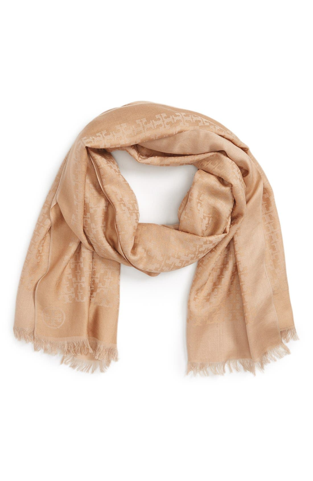 Main Image - Tory Burch 'All-Over T' Silk & Cotton Jacquard Scarf