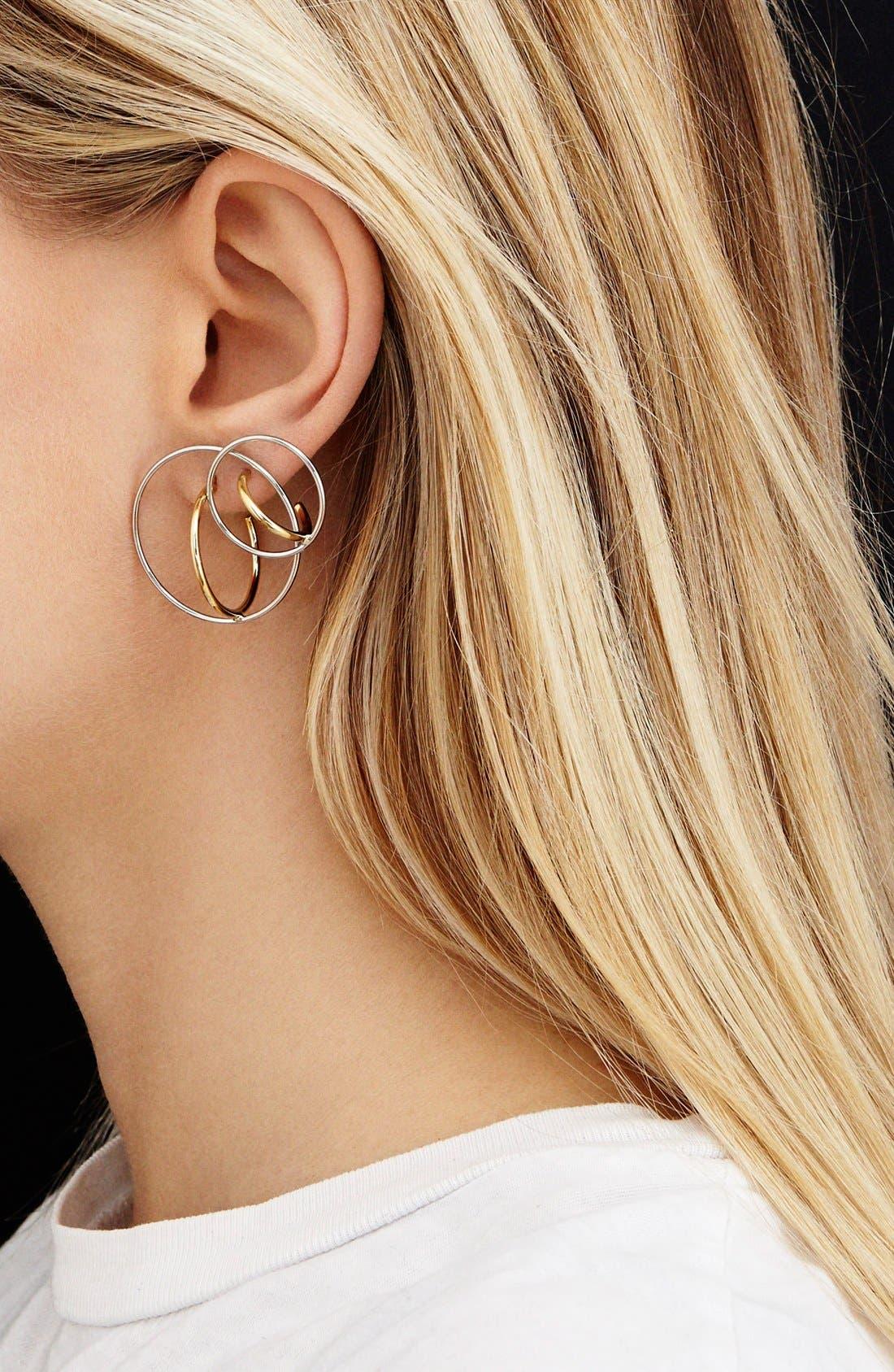 'Saturne' Earrings,                             Alternate thumbnail 3, color,                             Vermeil/ Argent