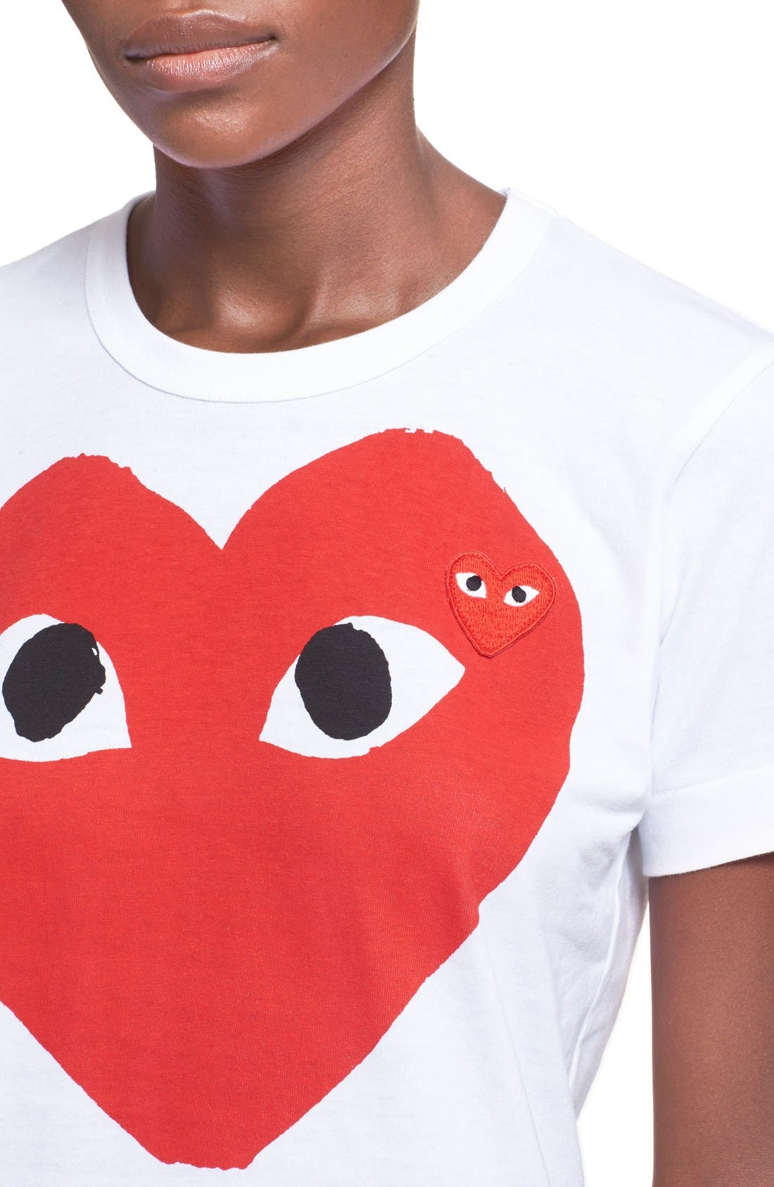 Comme des Garçons PLAY Graphic Cotton Tee,                             Alternate thumbnail 4, color,                             White