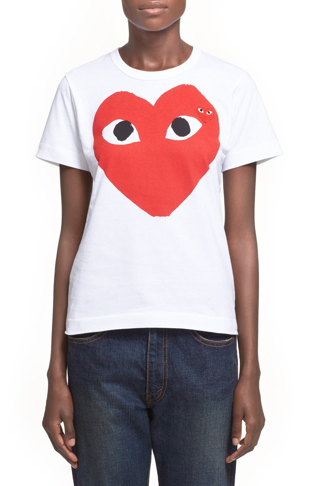 Comme des Garçons PLAY Graphic Cotton Tee,                             Main thumbnail 1, color,                             White