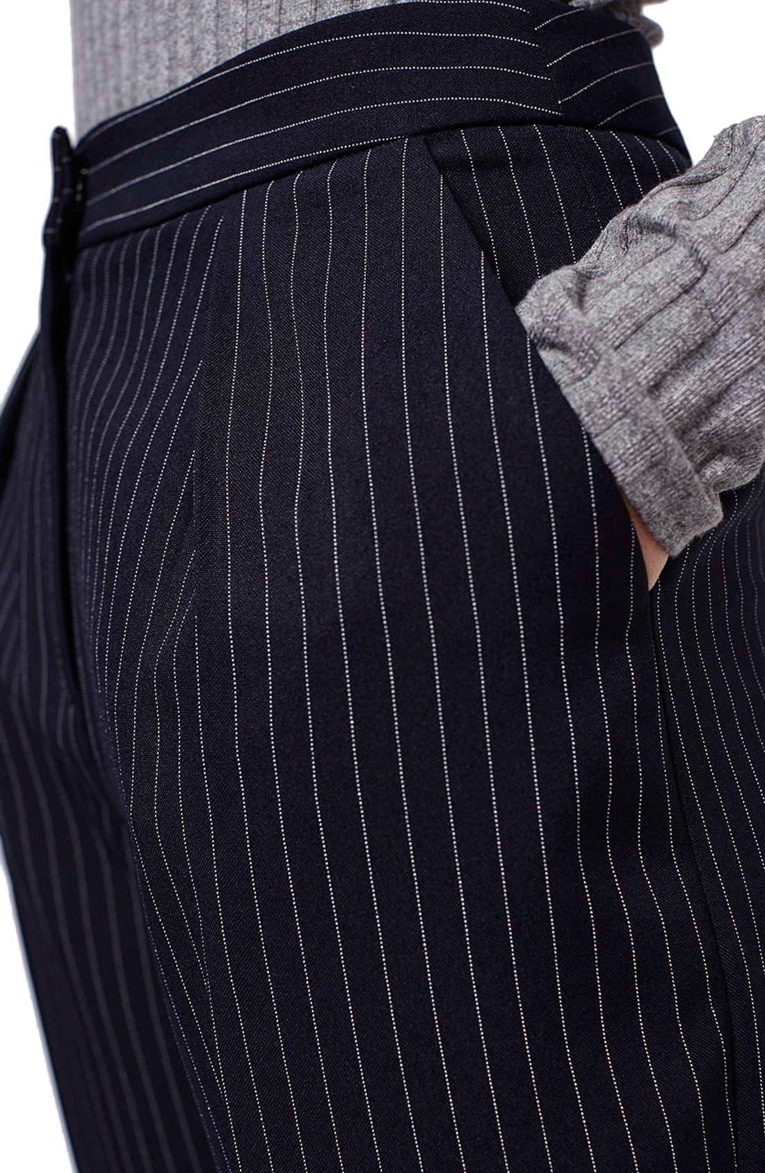 Alternate Image 3  - Topshop Pinstripe Crop Trousers (Petite)