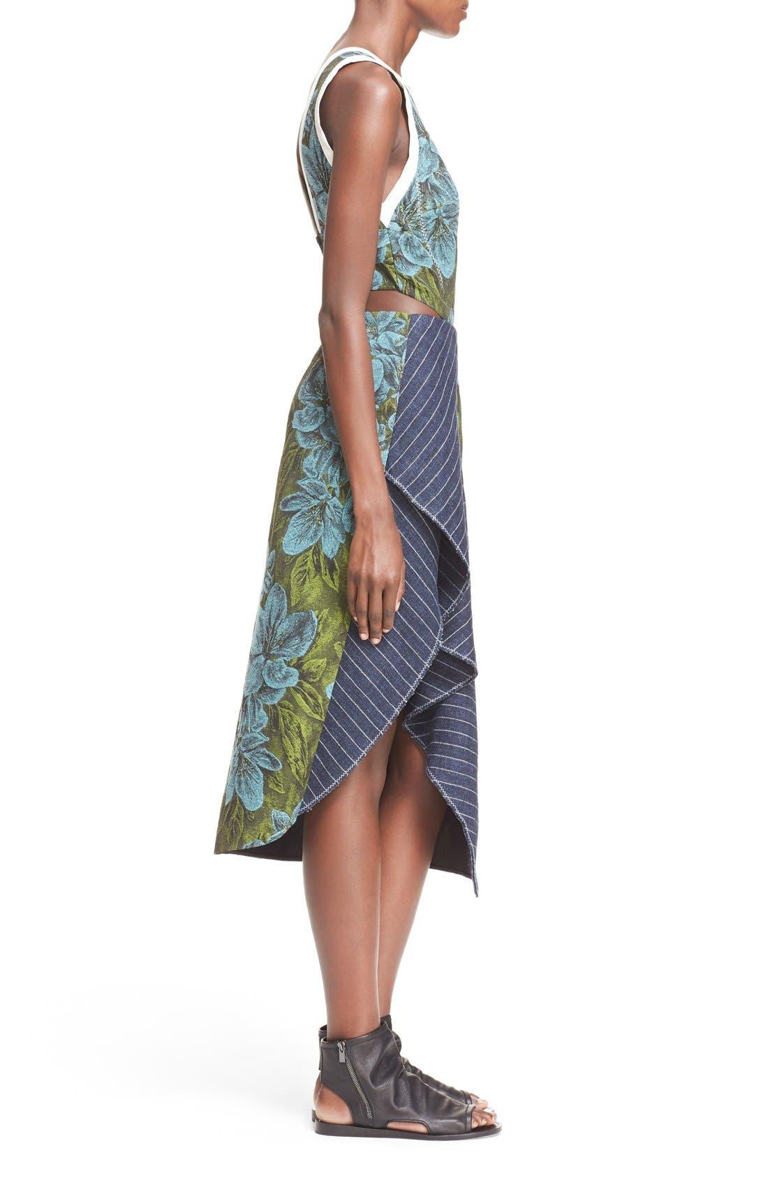 Side Cutout Ruffle Floral Jacquard Dress,                             Alternate thumbnail 3, color,                             Leaf