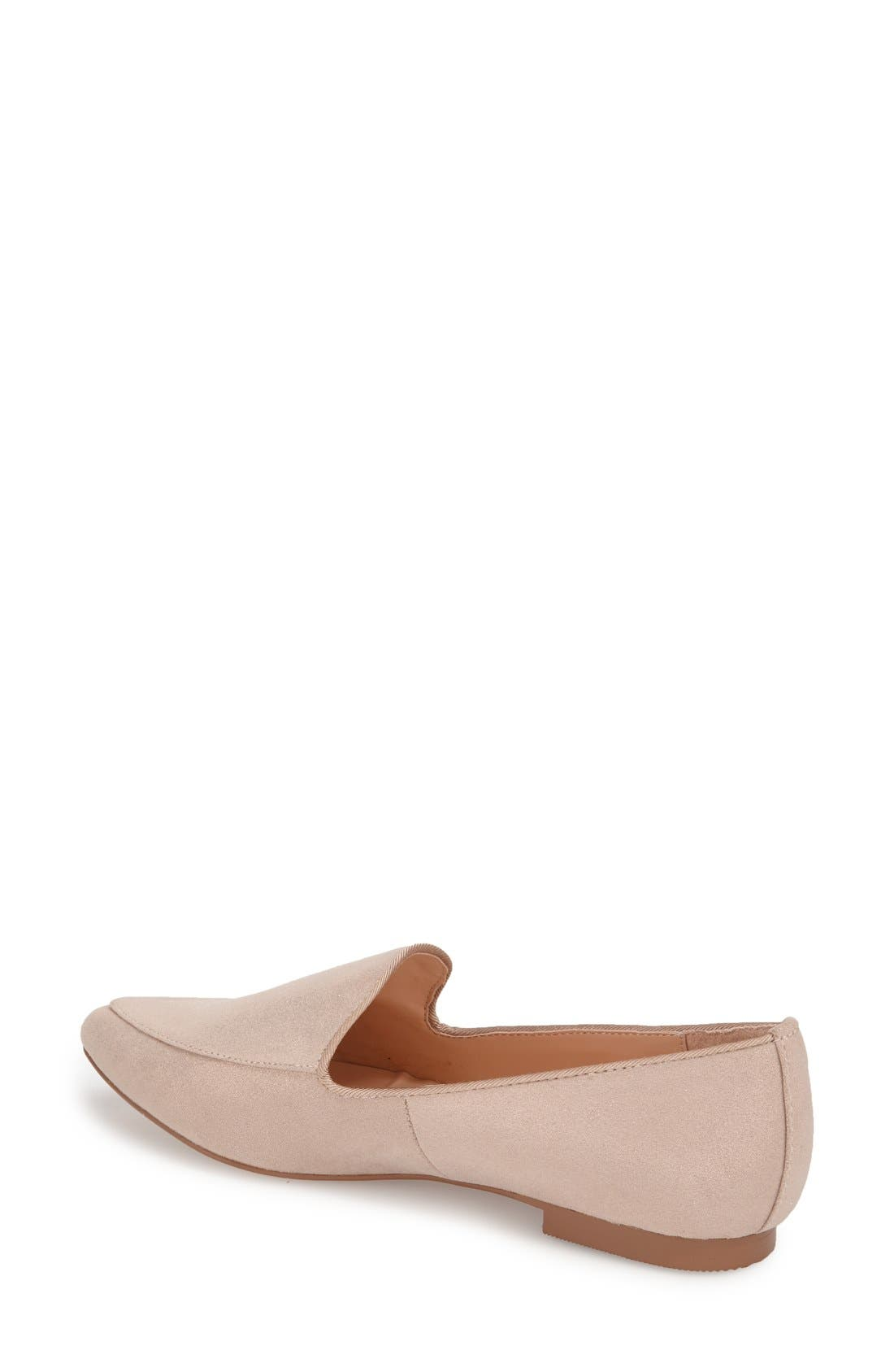 'Sean' Pointy Toe Loafer,                             Alternate thumbnail 2, color,                             Nude Metallic