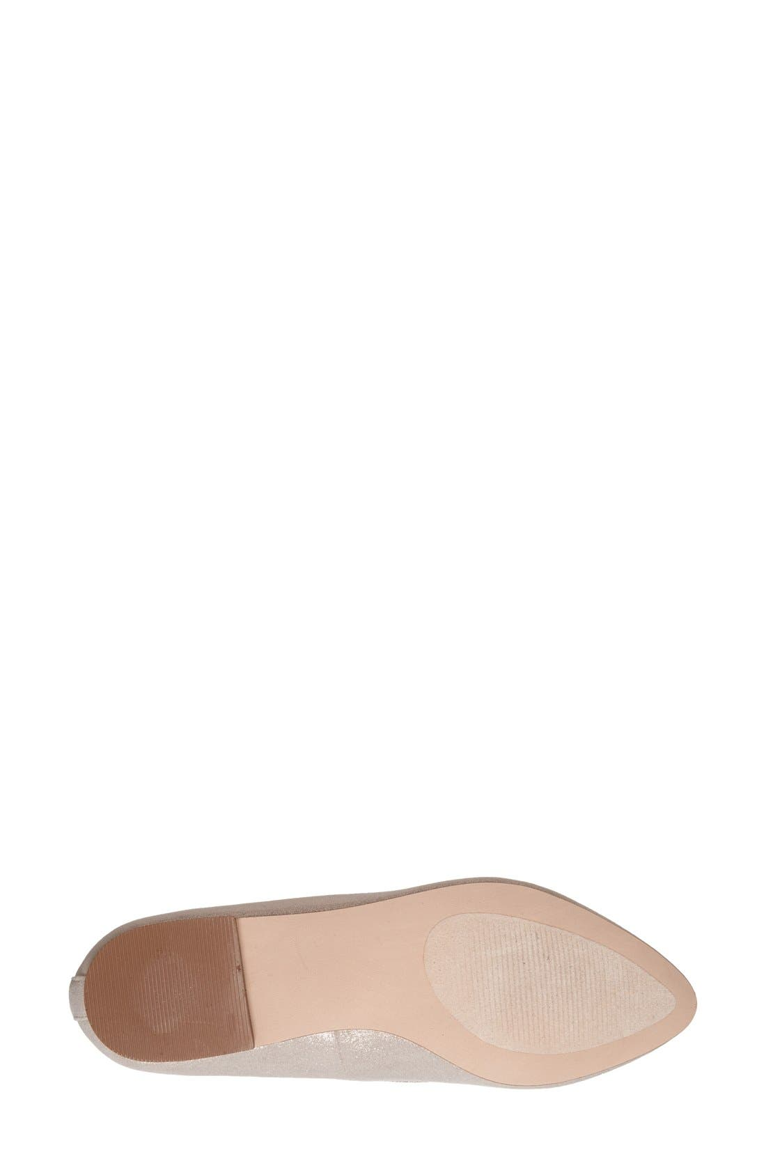 'Sean' Pointy Toe Loafer,                             Alternate thumbnail 4, color,                             Nude Metallic