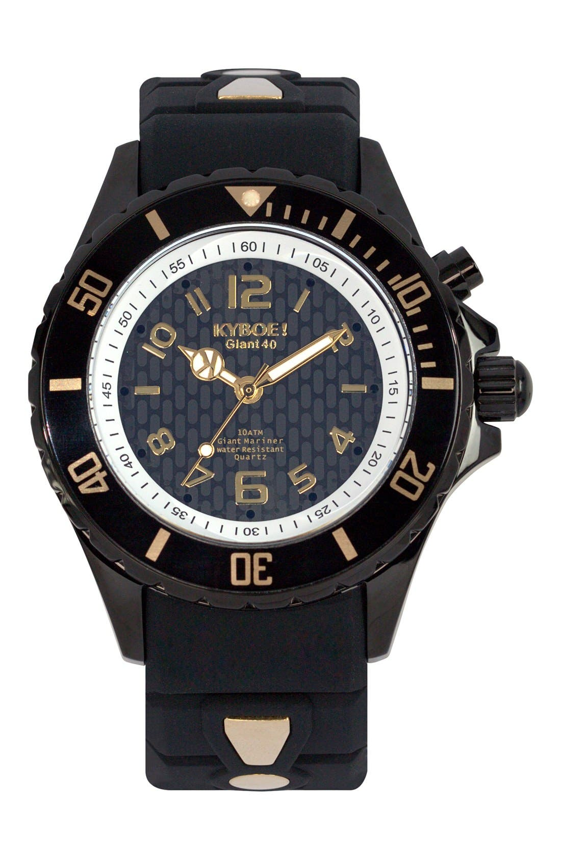 Silicone Strap Watch, 40mm,                         Main,                         color, Black/ Gold