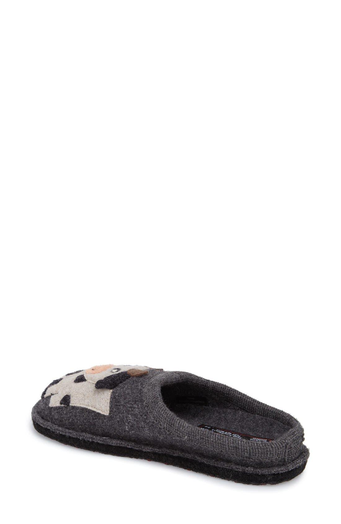 'Cow' Slipper,                             Alternate thumbnail 2, color,                             Grey Wool