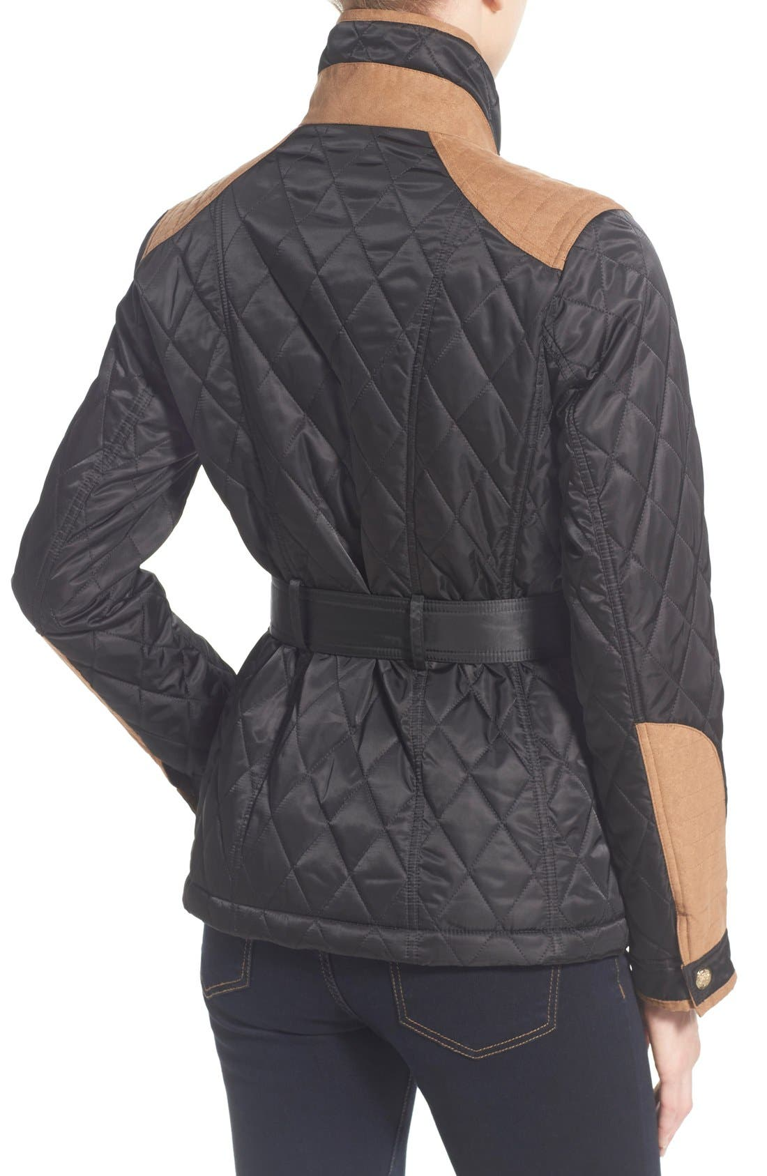 Faux Suede Trim Belted Quilted Jacket,                             Alternate thumbnail 2, color,                             Black/ Ginger