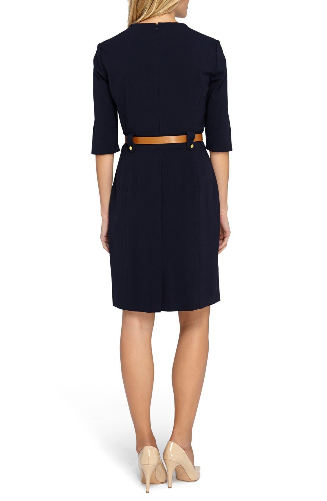Alternate Image 2  - Tahari Belted Stretch Sheath Dress