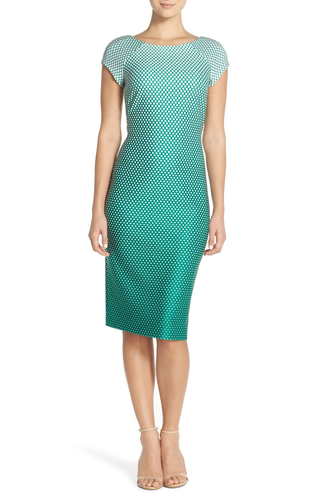 Main Image - ECI Ombré Polka Dot Scuba Midi Sheath Dress