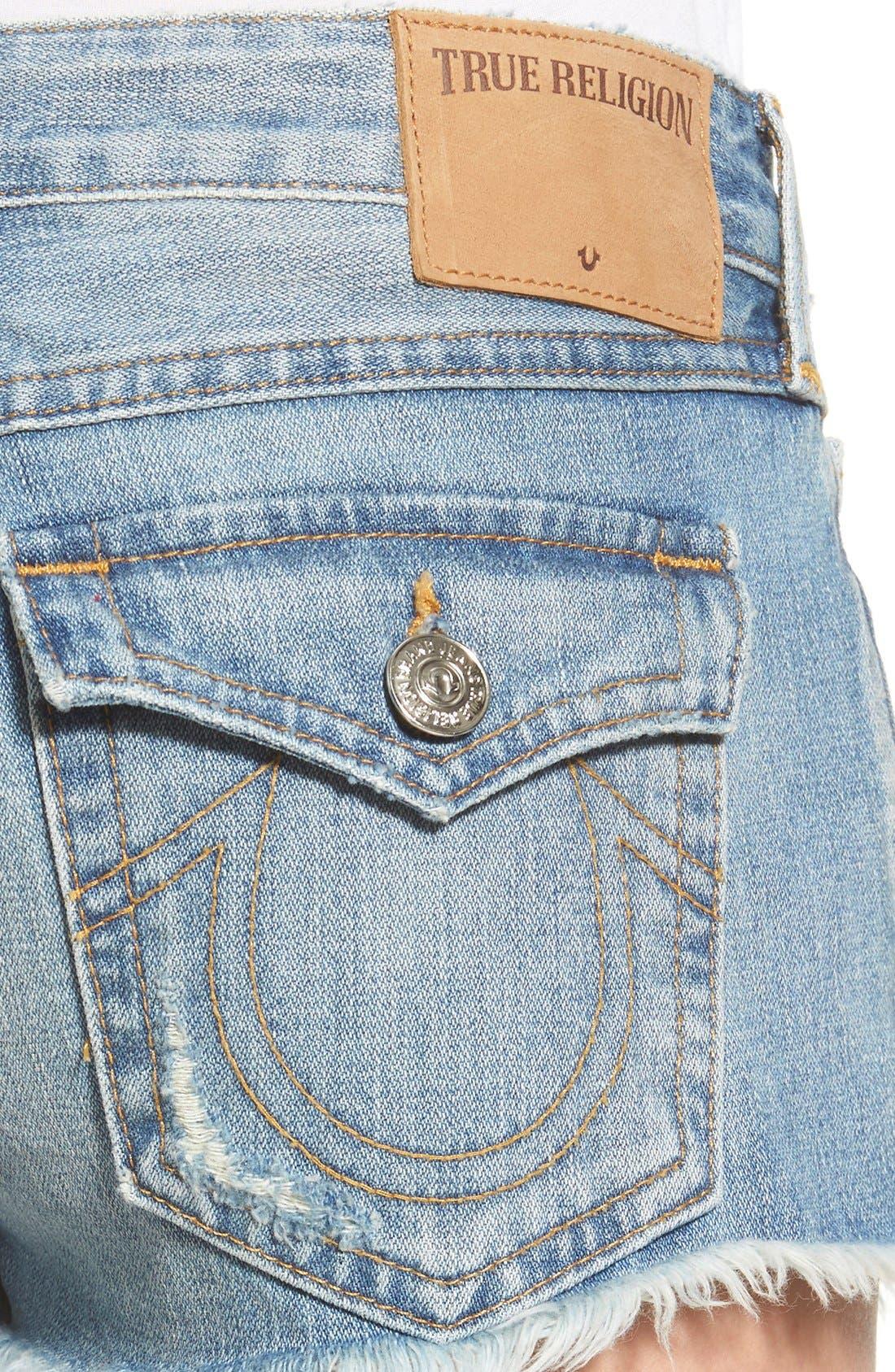 Alternate Image 4  - True Religion Brand Jeans Joey Flap Pocket Cutoff Shorts (Vintage True Destroyed)