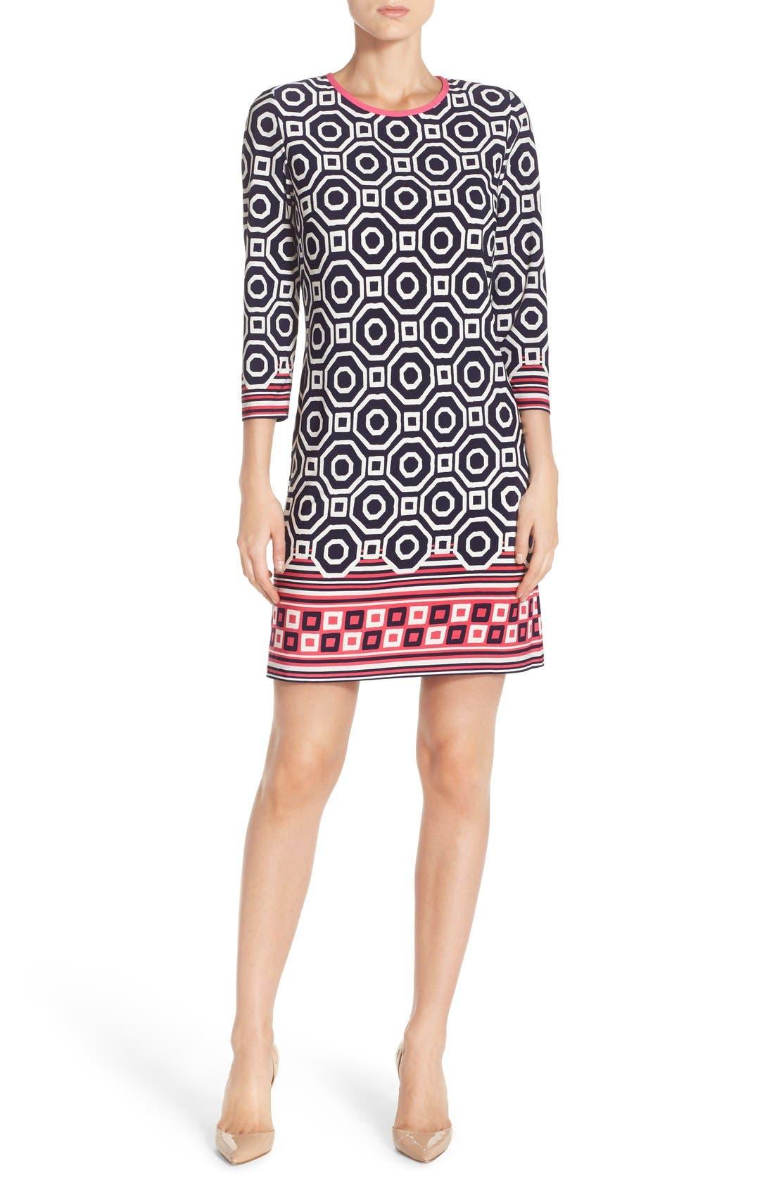 Print Jersey Shift Dress,                         Main,                         color, Navy/ Pink
