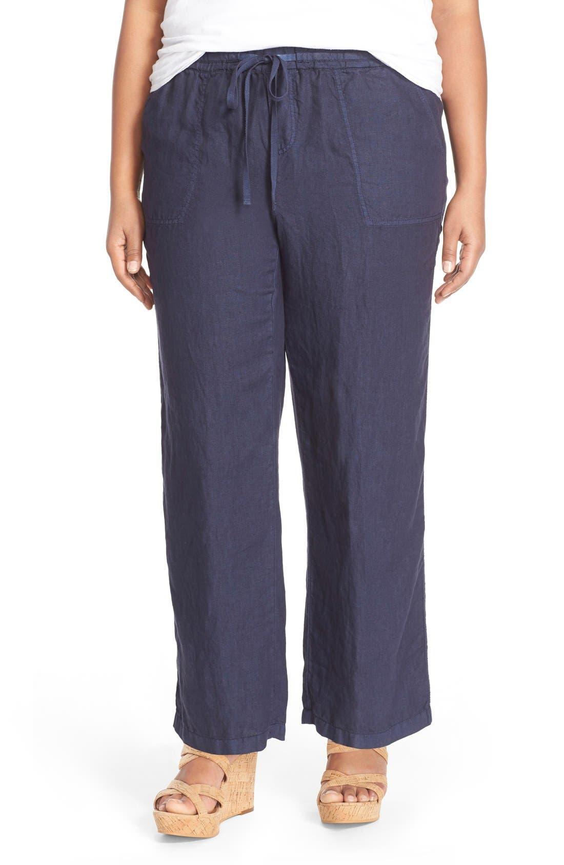 Main Image - Caslon® Drawstring Linen Pants (Plus Size)