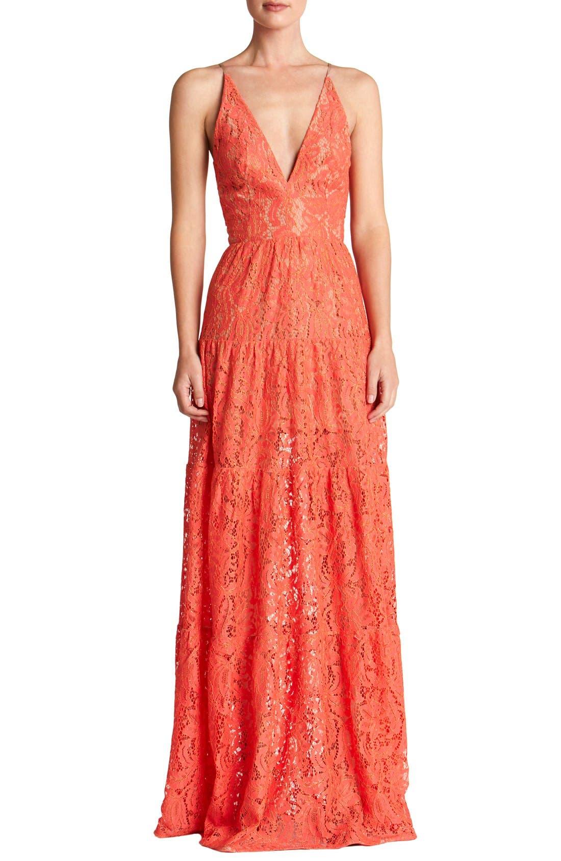 Main Image - Dress the Population Melina Lace Fit & Flare Maxi Dress