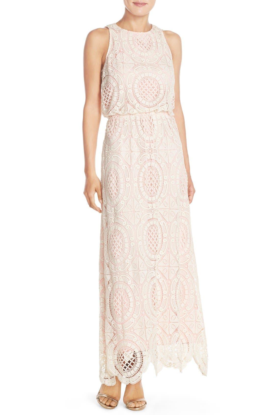 Lace Blouson Maxi Dress,                             Main thumbnail 1, color,                             Beige
