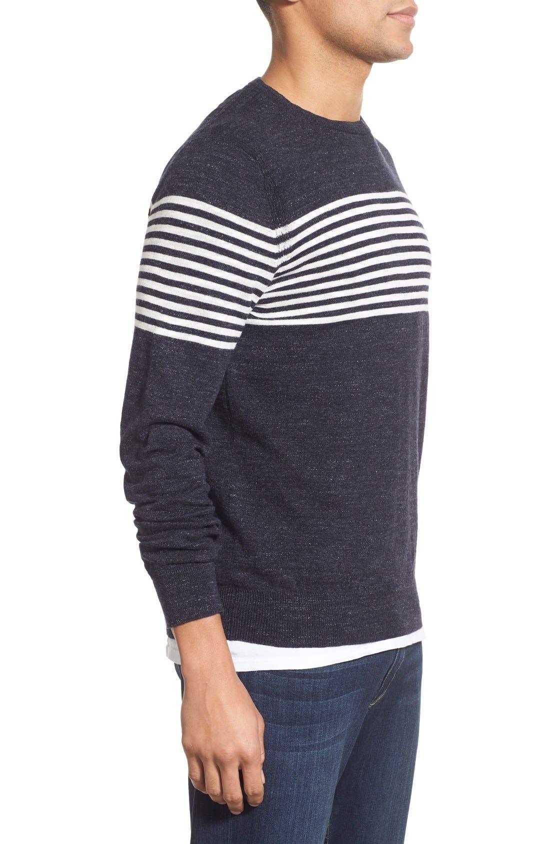 'Shore Club' Chest Stripe Crewneck Sweater,                             Alternate thumbnail 3, color,                             Navy
