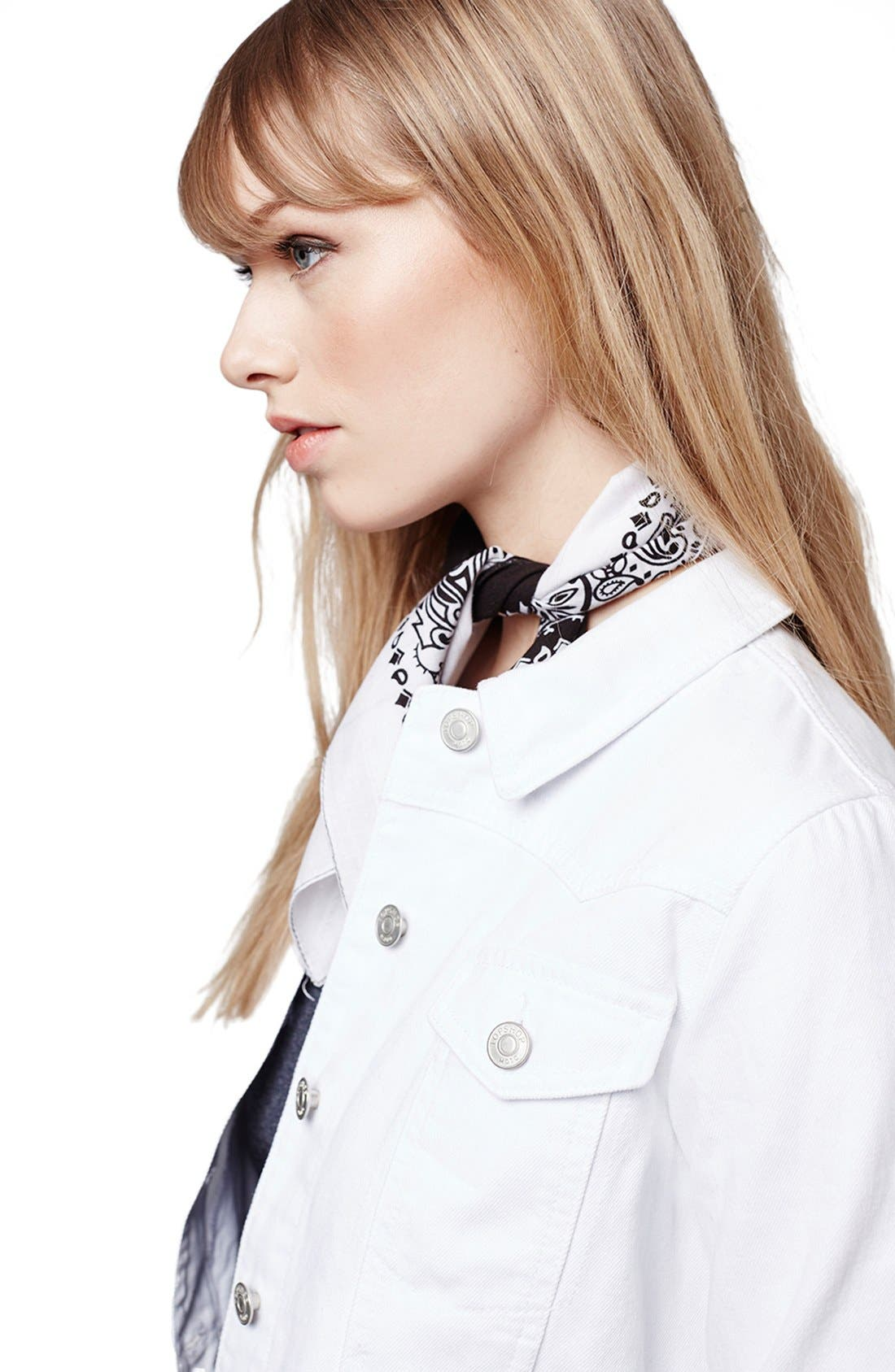 Alternate Image 5  - Topshop Moto 'Tilda' Washed Denim Jacket (White)