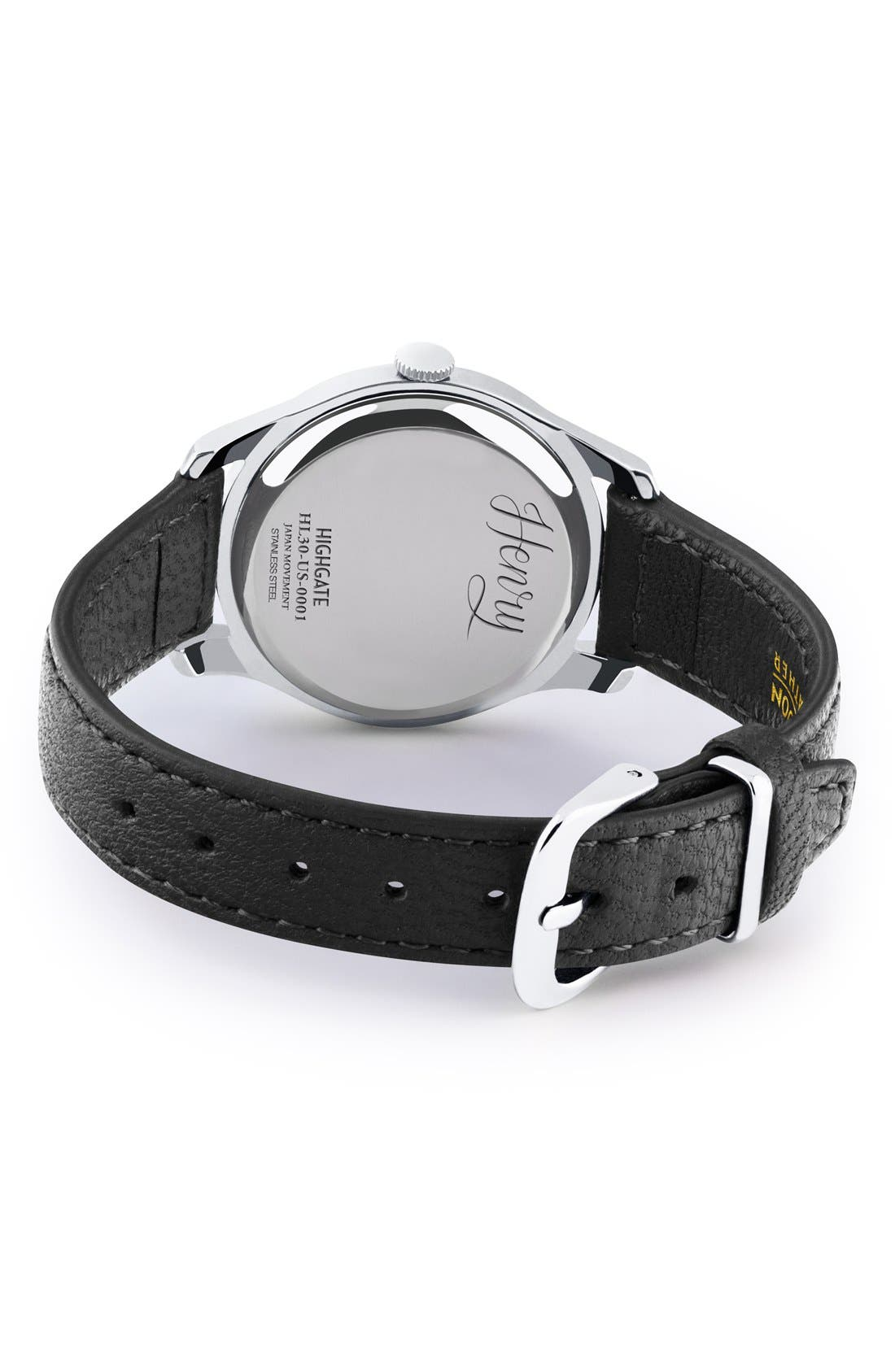 'Highgate' Leather Strap Watch, 30mm,                             Alternate thumbnail 2, color,                             Black/ White