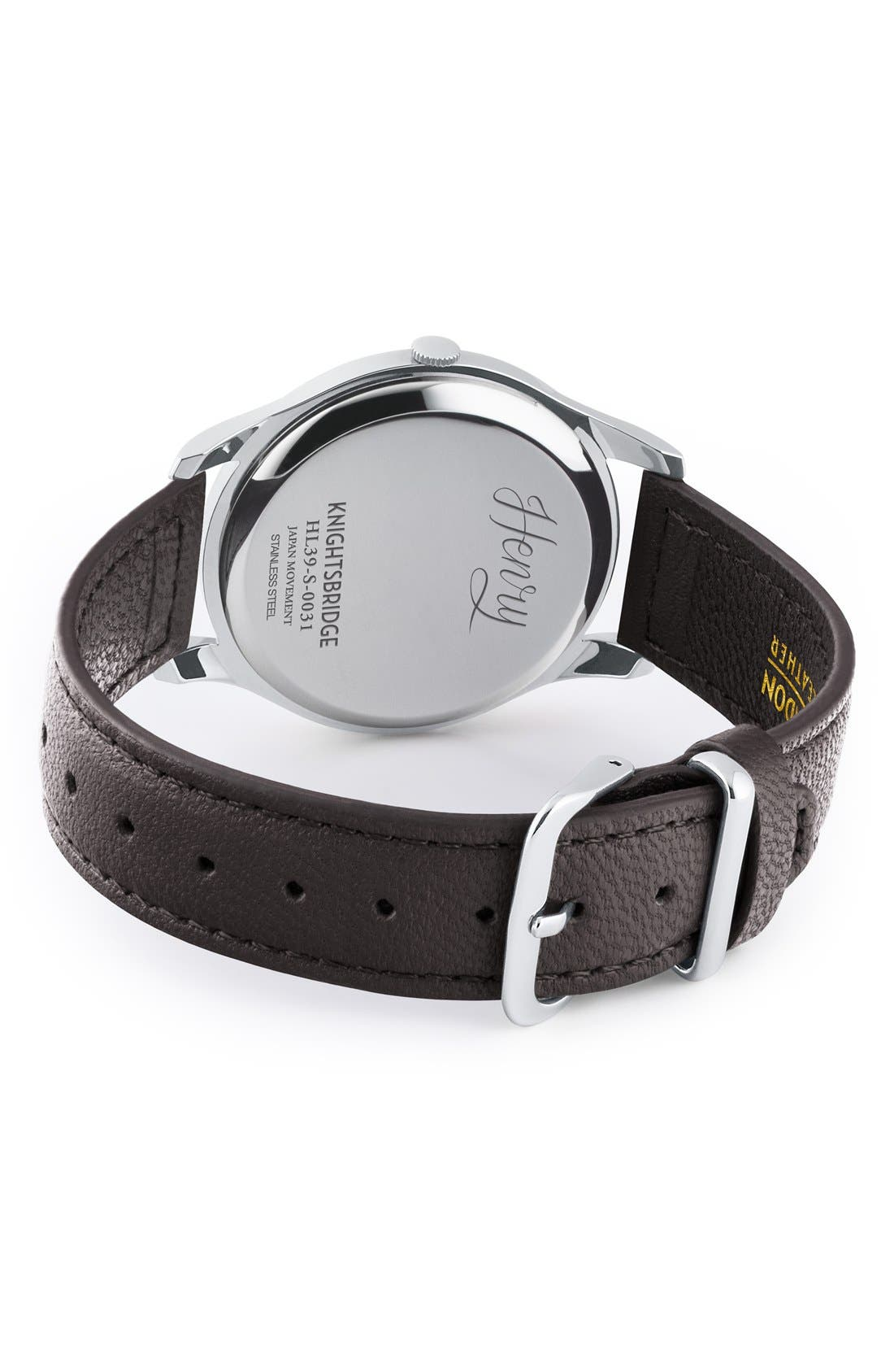 'Knightsbridge' Leather Strap Watch, 38mm,                             Alternate thumbnail 2, color,                             Black/ Deep Blue