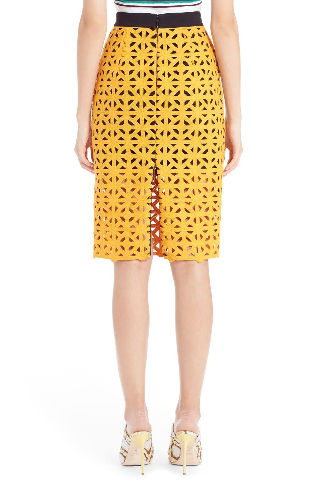 Alternate Image 2  - MSGM Geometric Cutout Cotton Pencil Skirt