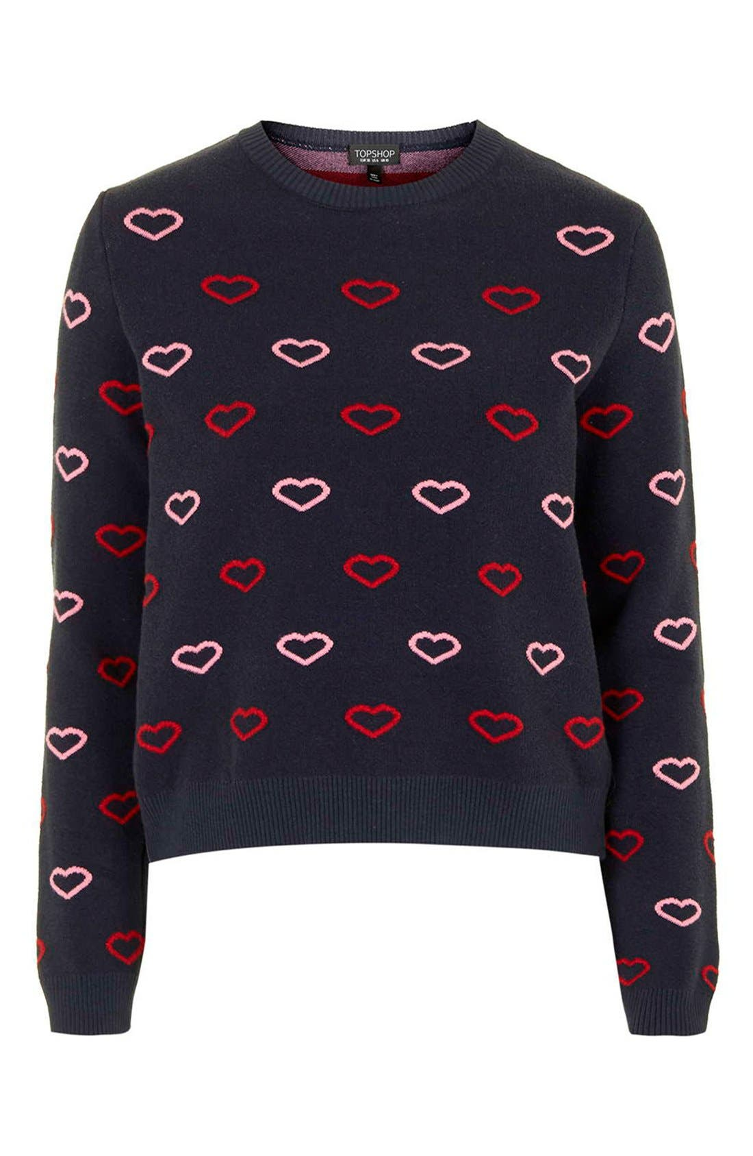 Alternate Image 4  - Topshop Embroidered Heart Sweater