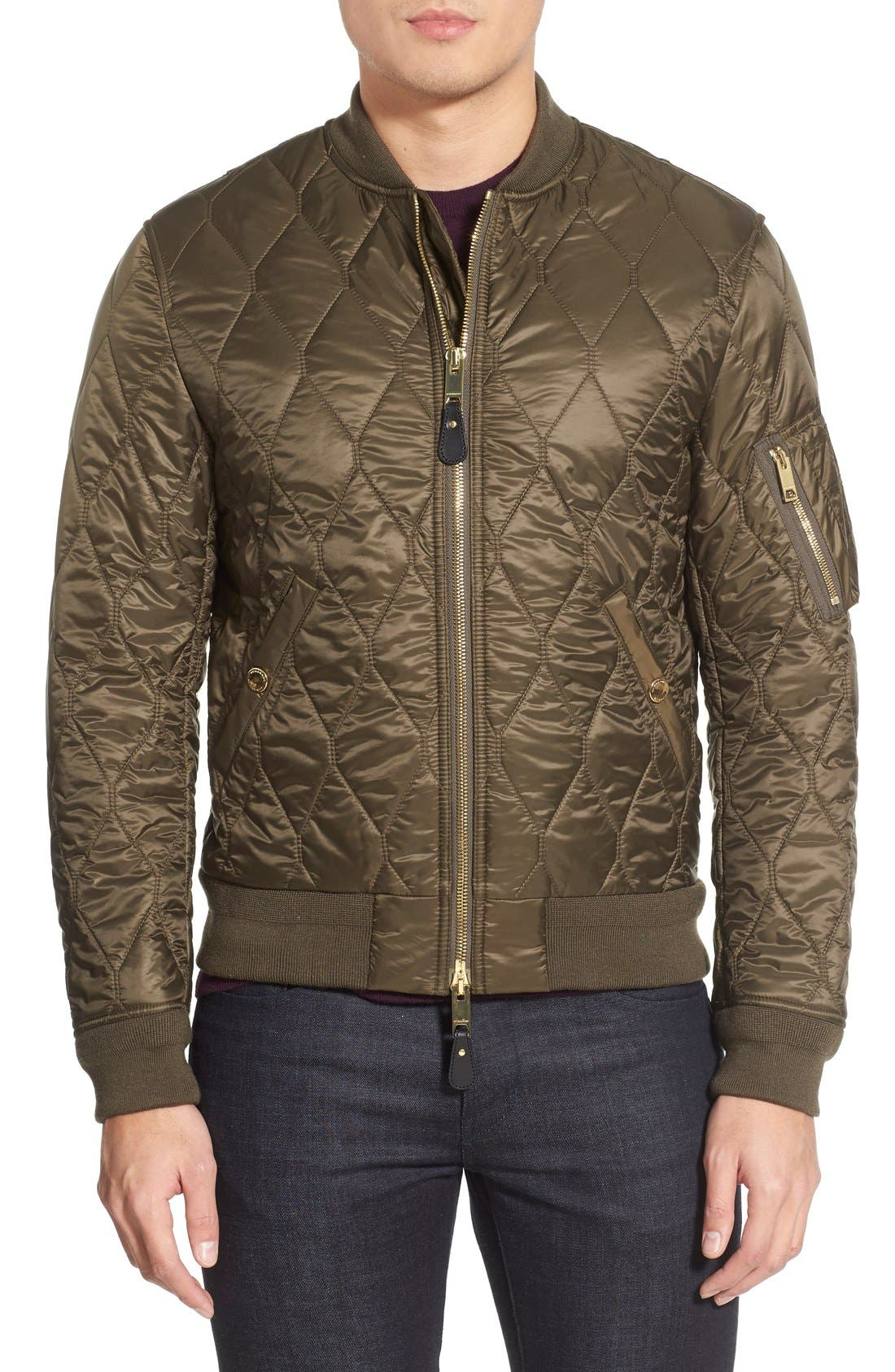 The Britain 'Grandy Aboyg' Quilted Bomber,                         Main,                         color, Oregano