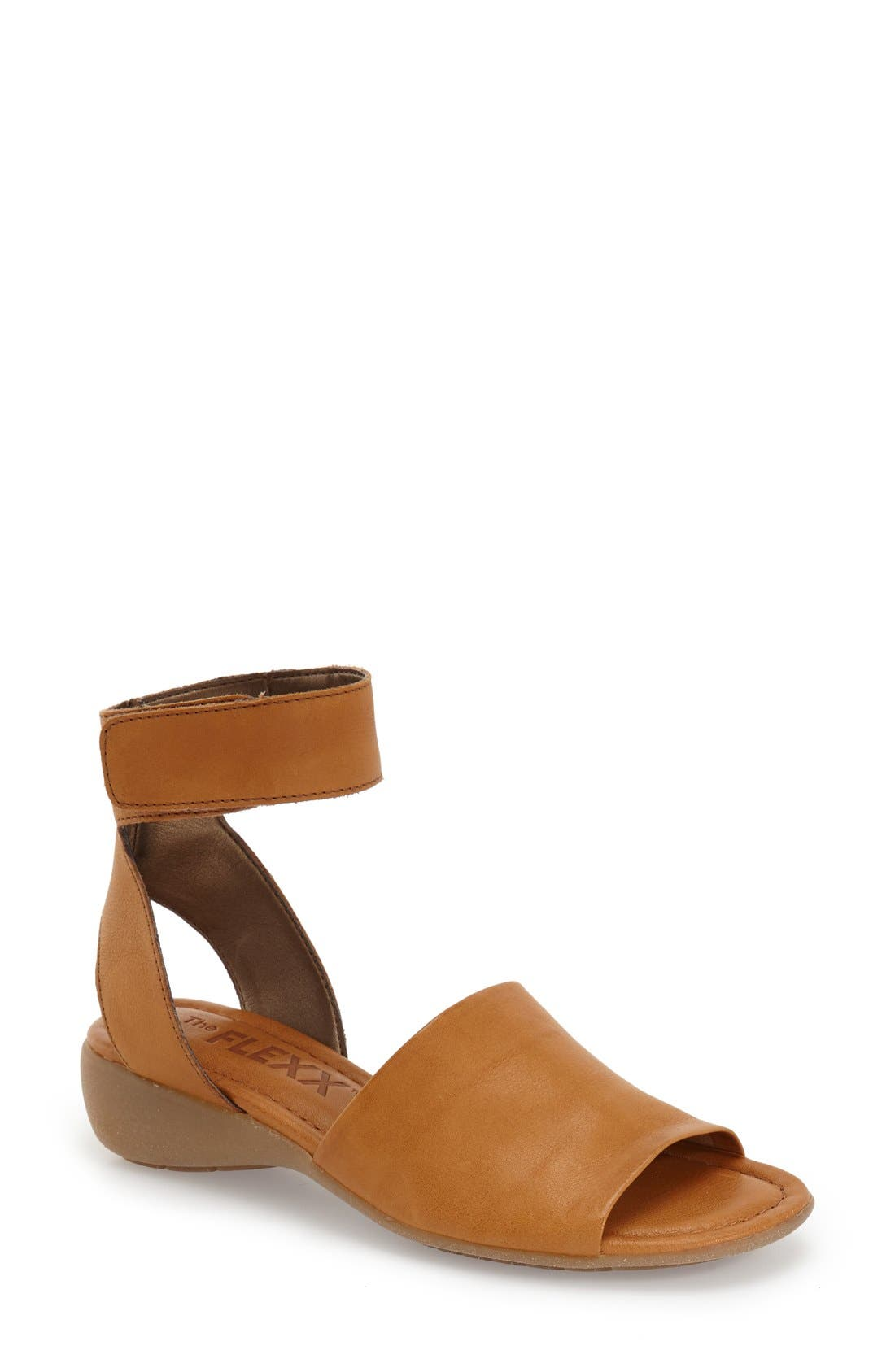 'Beglad' Leather Ankle Strap Sandal,                             Main thumbnail 1, color,                             Virginia Brown Leather