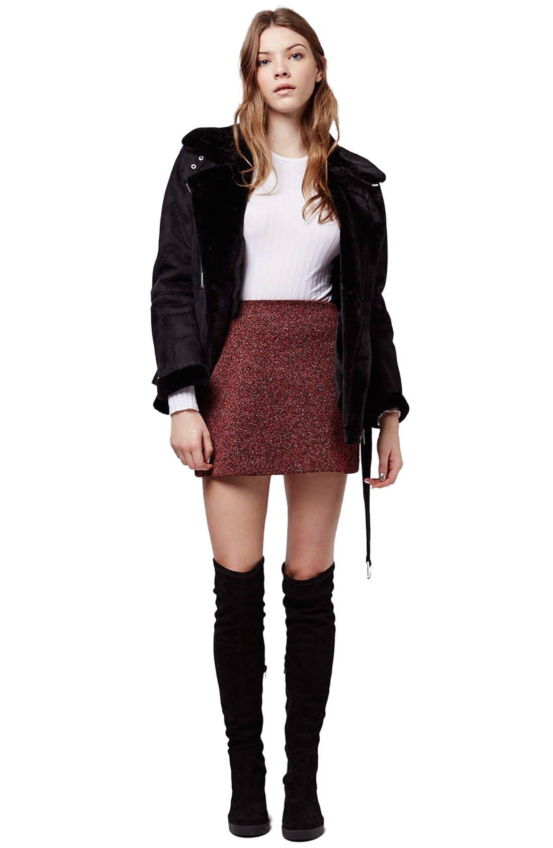 Alternate Image 2  - Topshop Marled Herringbone Miniskirt