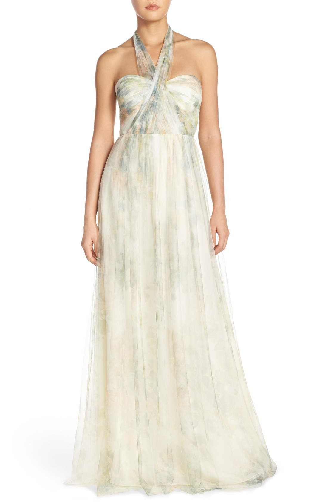 Annabelle Print Tulle Convertible Column Gown,                             Alternate thumbnail 5, color,                             Ivory Sage Rose
